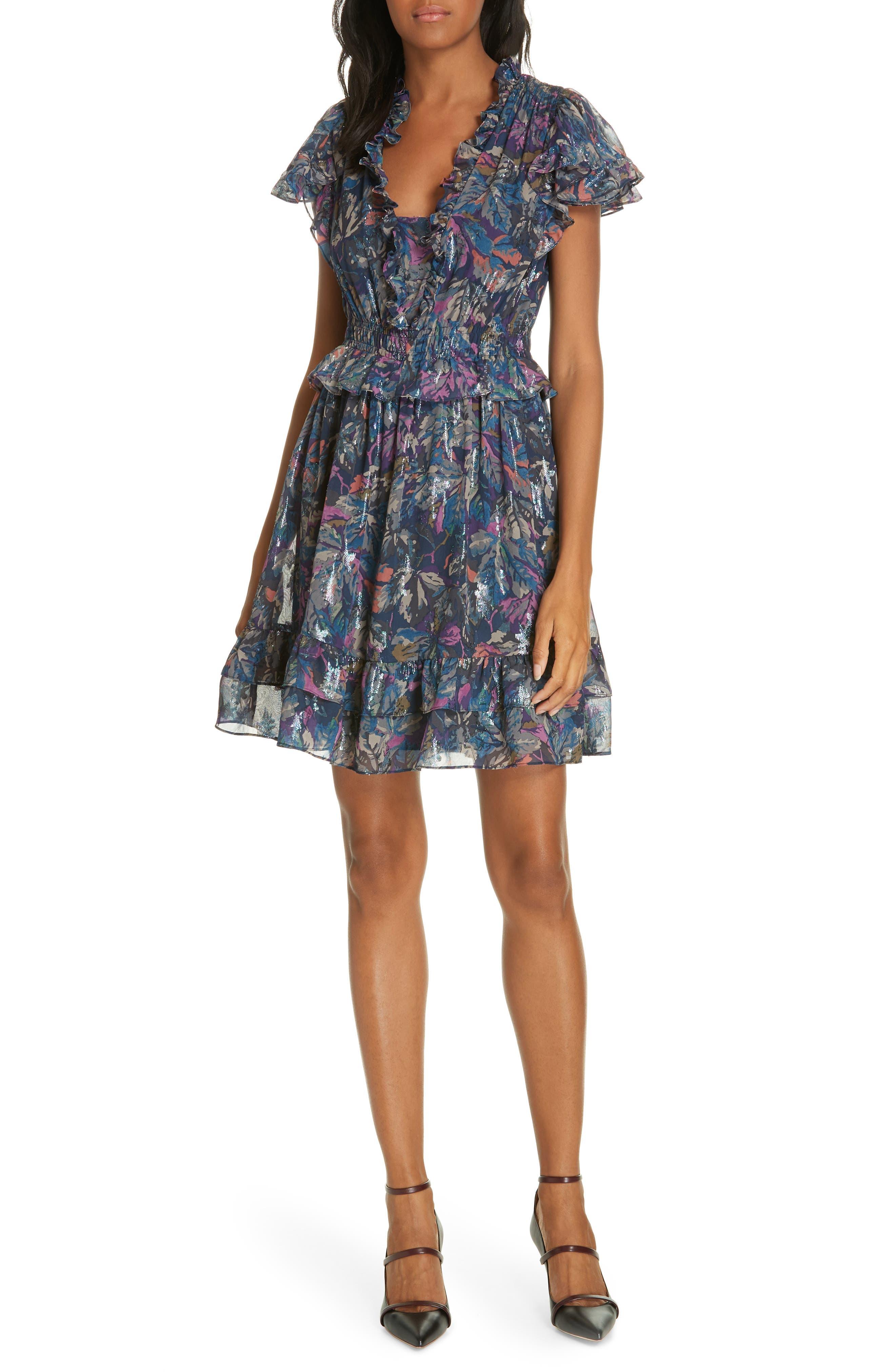 Giverney Fleur Dress,                             Main thumbnail 1, color,                             AMETHYST COMBO
