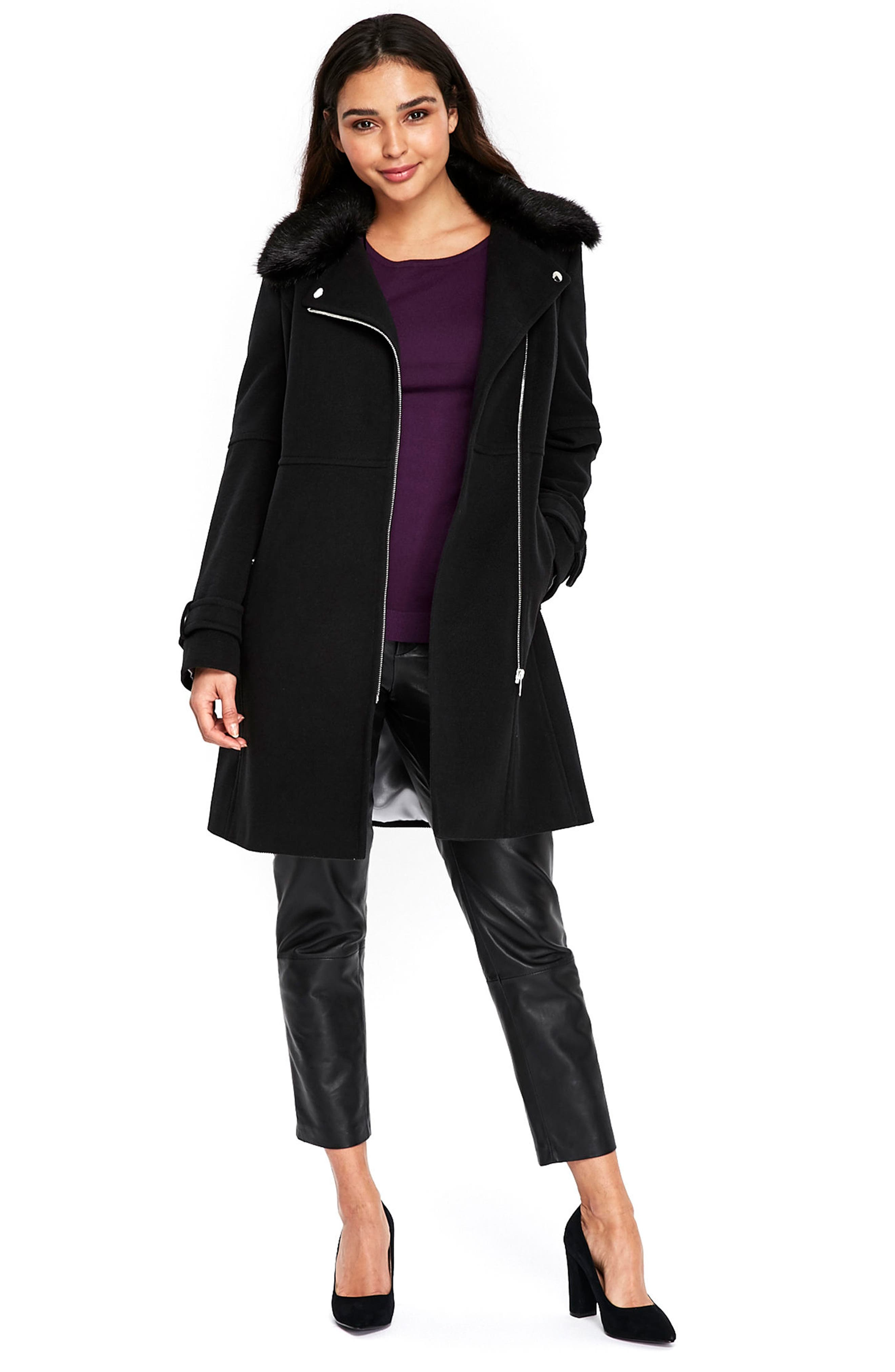 Twill Biker Jacket with Faux Fur Collar,                             Alternate thumbnail 5, color,