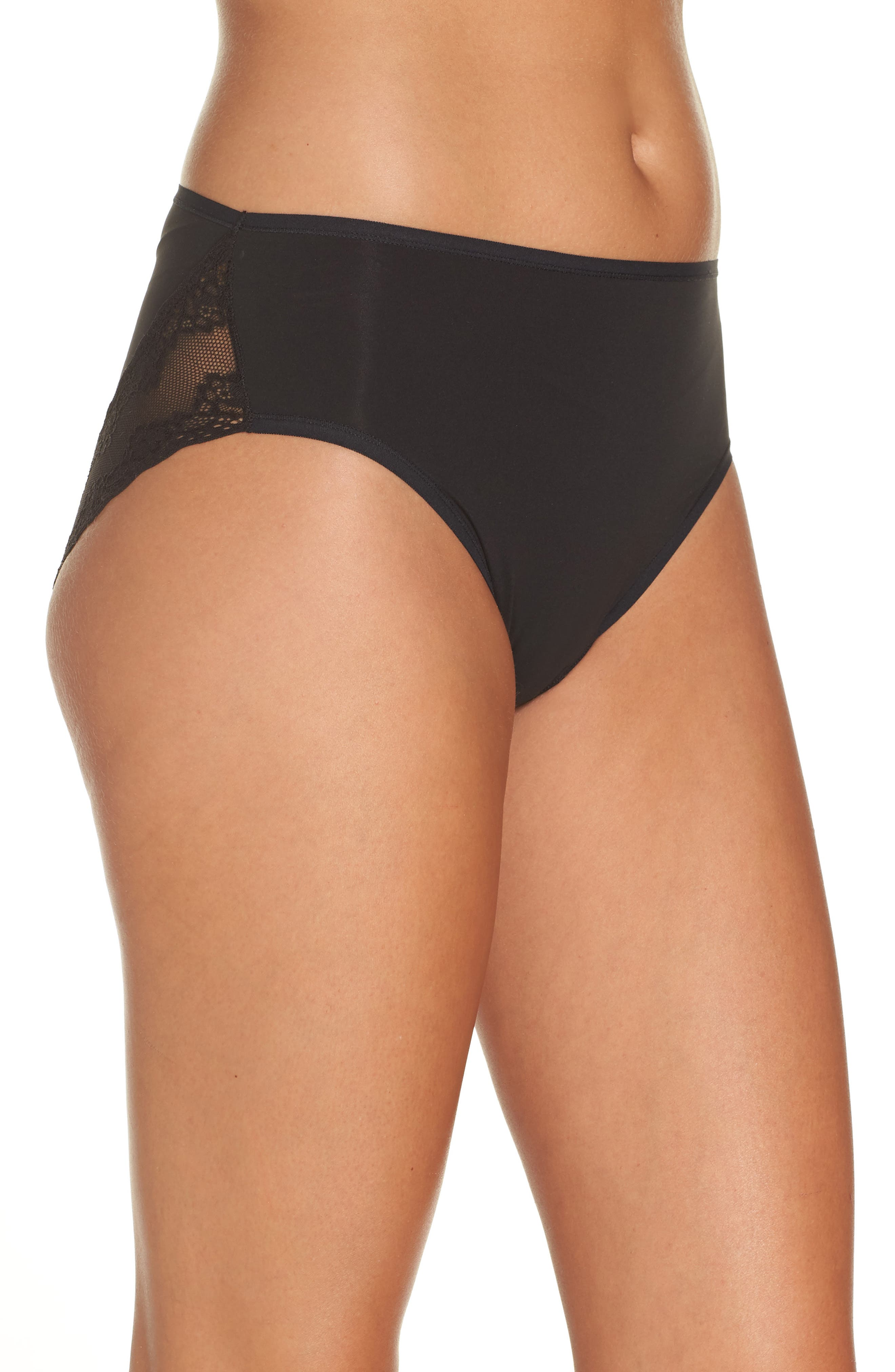 Bliss Perfection French Cut Briefs,                             Alternate thumbnail 3, color,                             BLACK