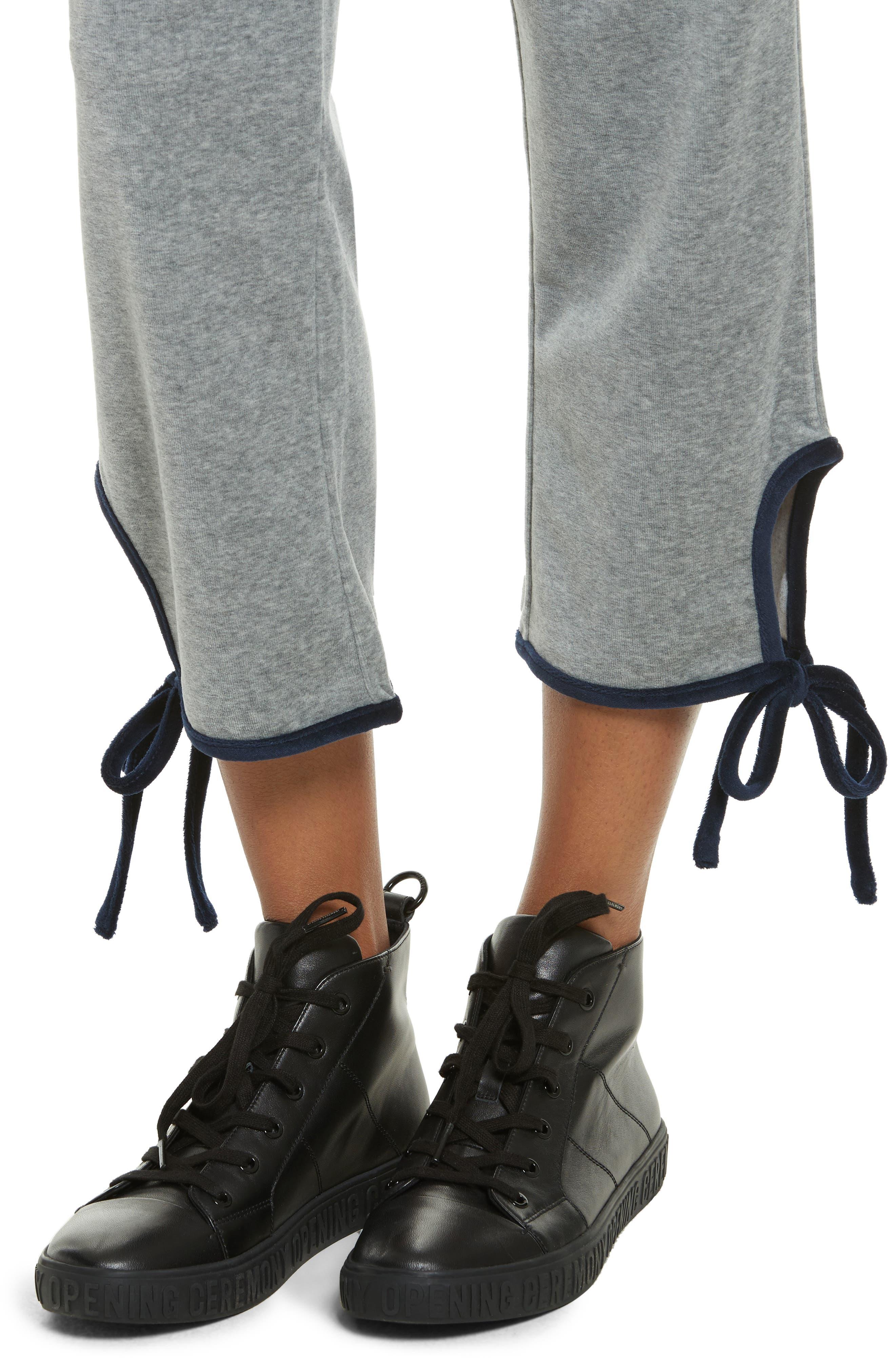 Velour Tie Track Pants,                             Alternate thumbnail 4, color,