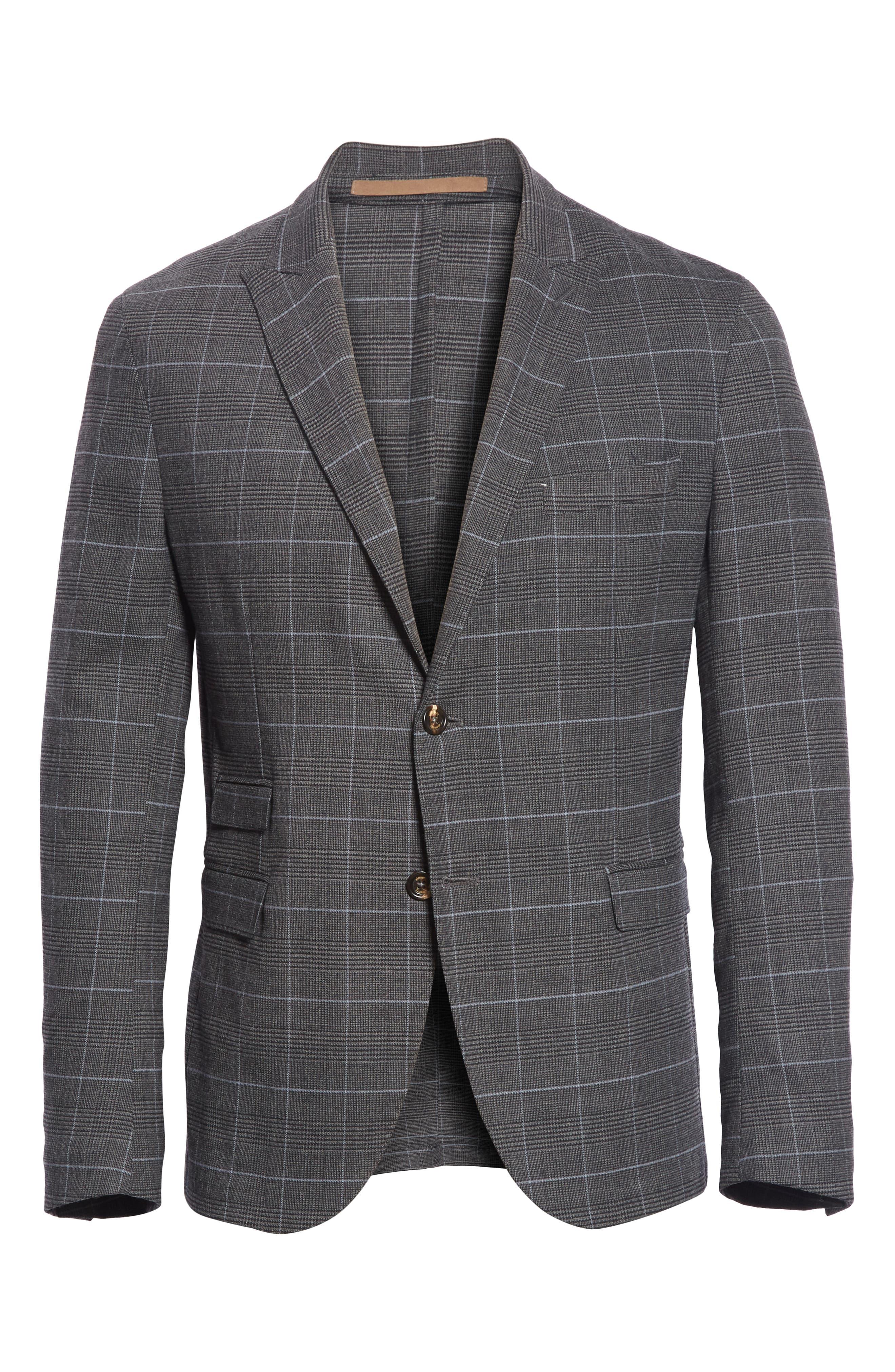 Trim Fit Stretch Plaid Wool Sport Coat,                             Alternate thumbnail 5, color,                             GREY