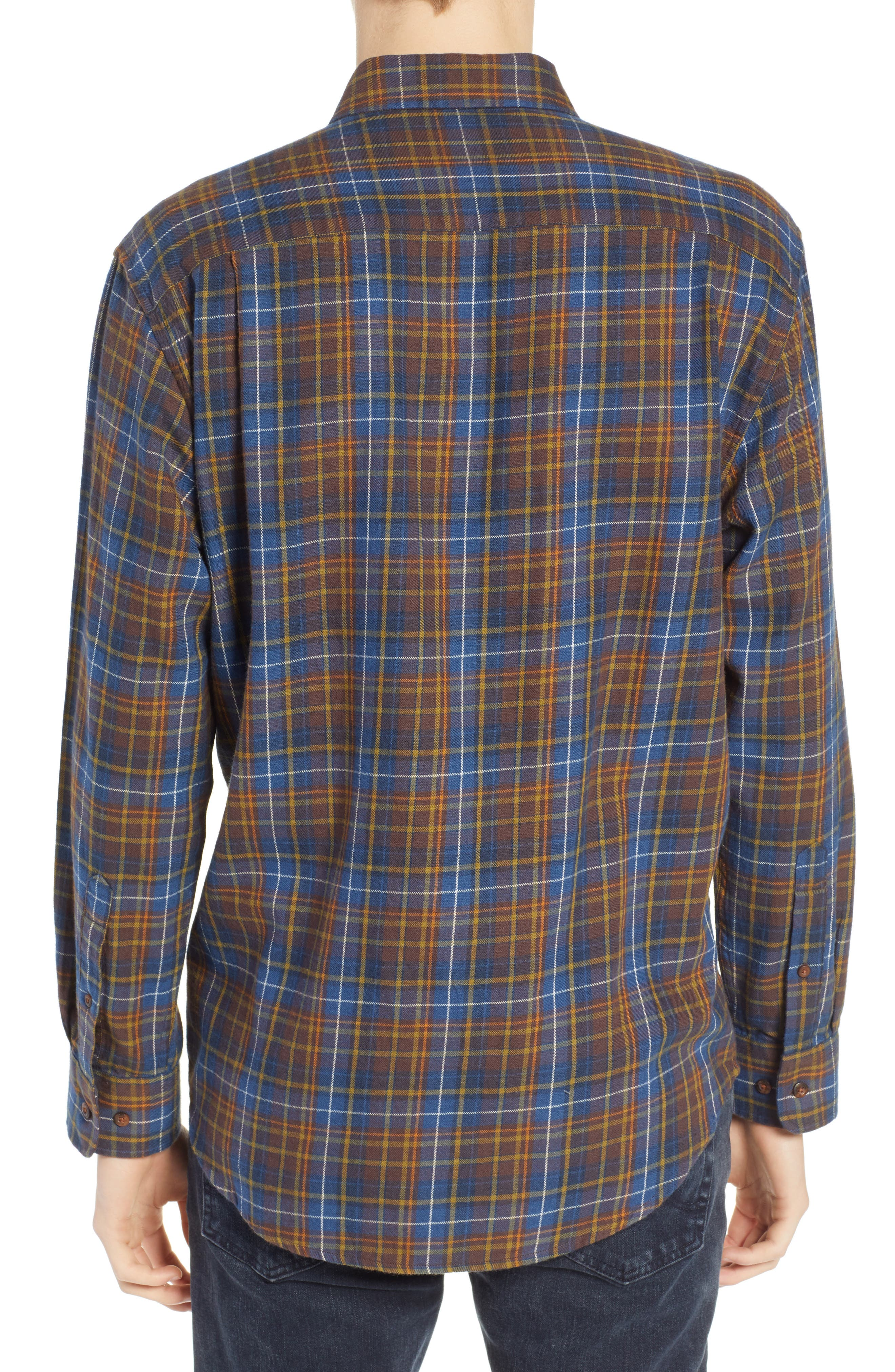 Bridger Plaid Twill Shirt,                             Alternate thumbnail 3, color,                             BLUE/ BROWN/ GREEN PLAID