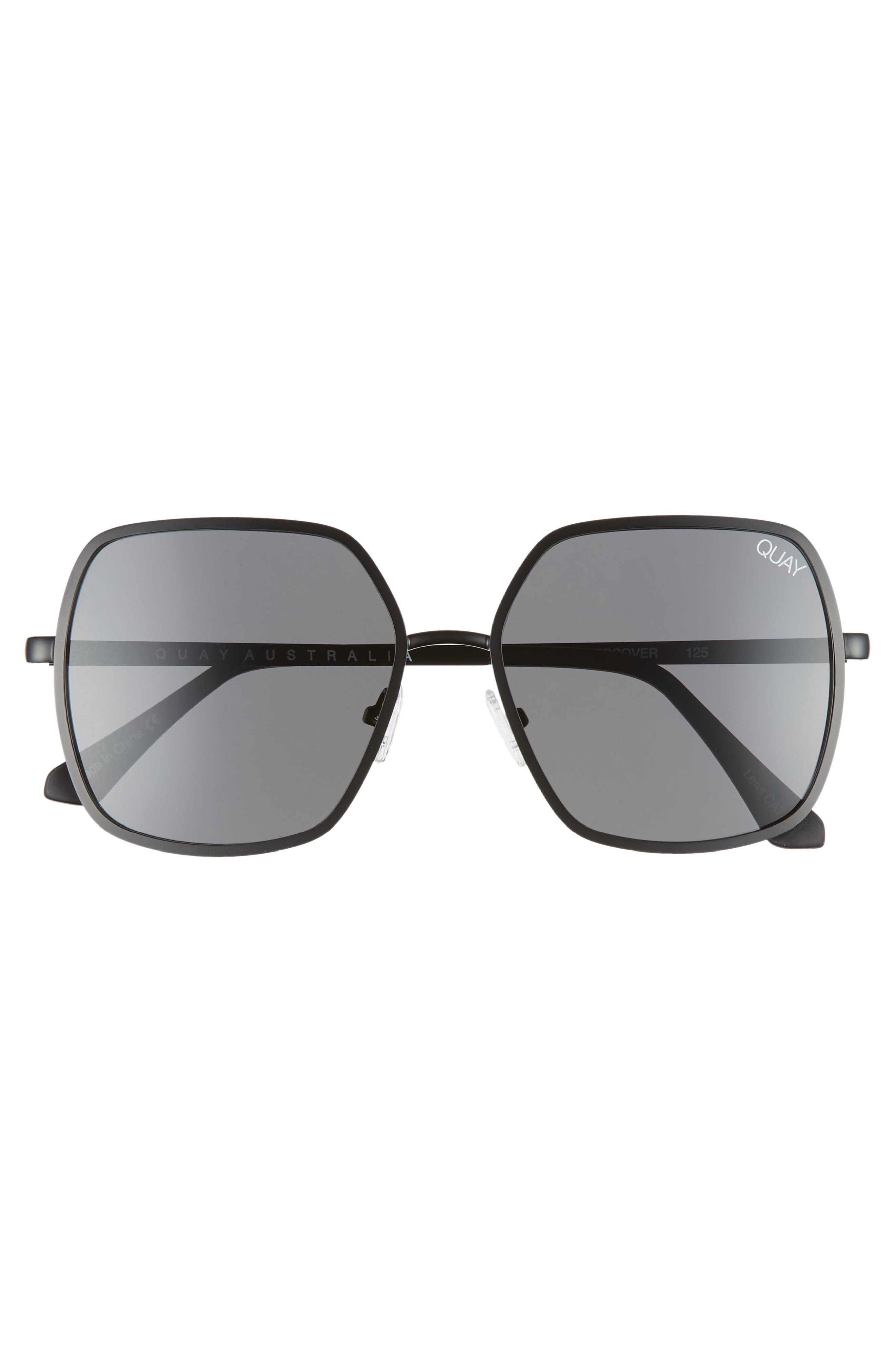 57mm Square Sunglasses,                             Alternate thumbnail 3, color,                             BLACK/ SMOKE