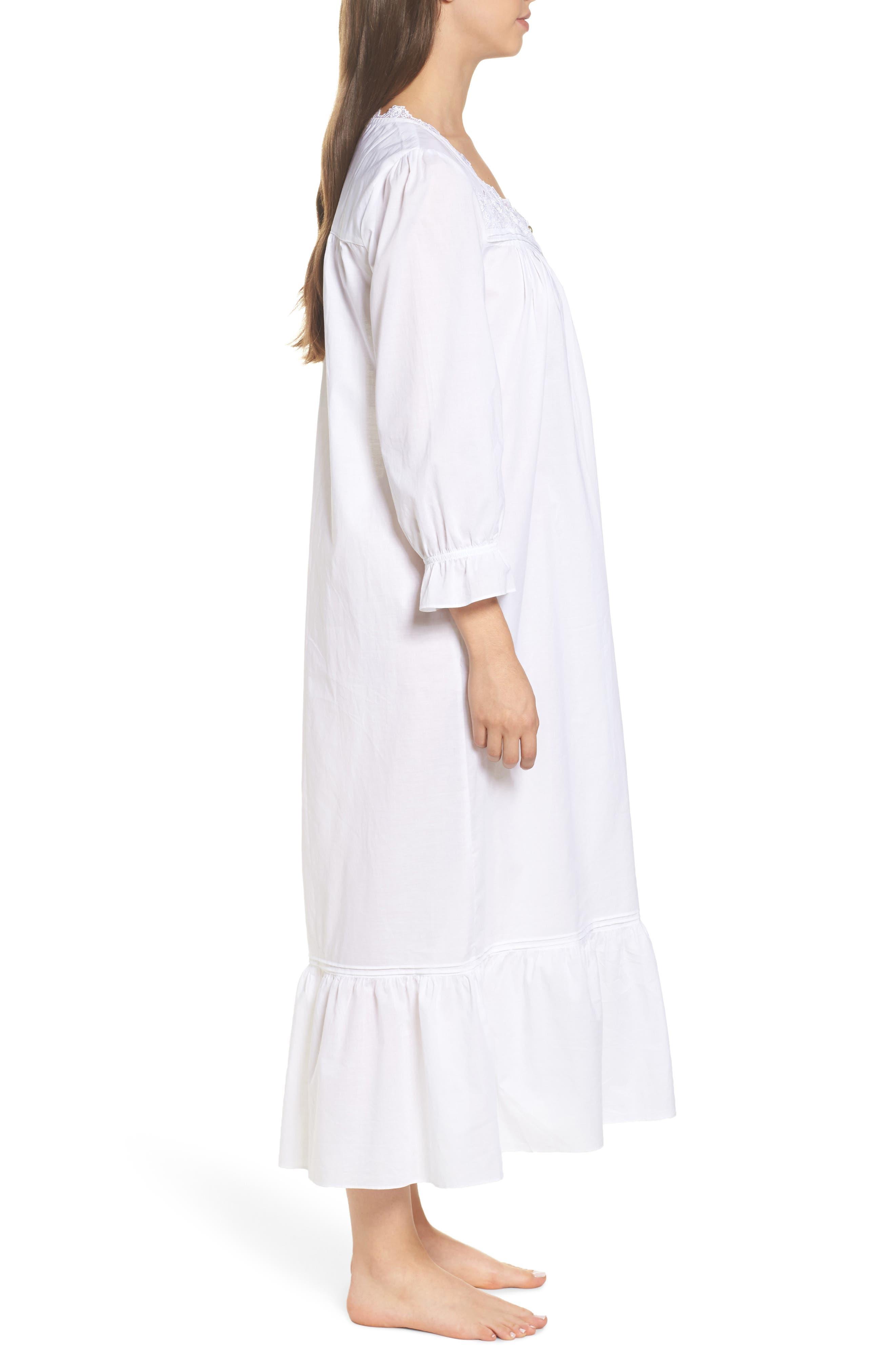 Button Front Cotton Nightgown,                             Alternate thumbnail 3, color,                             100