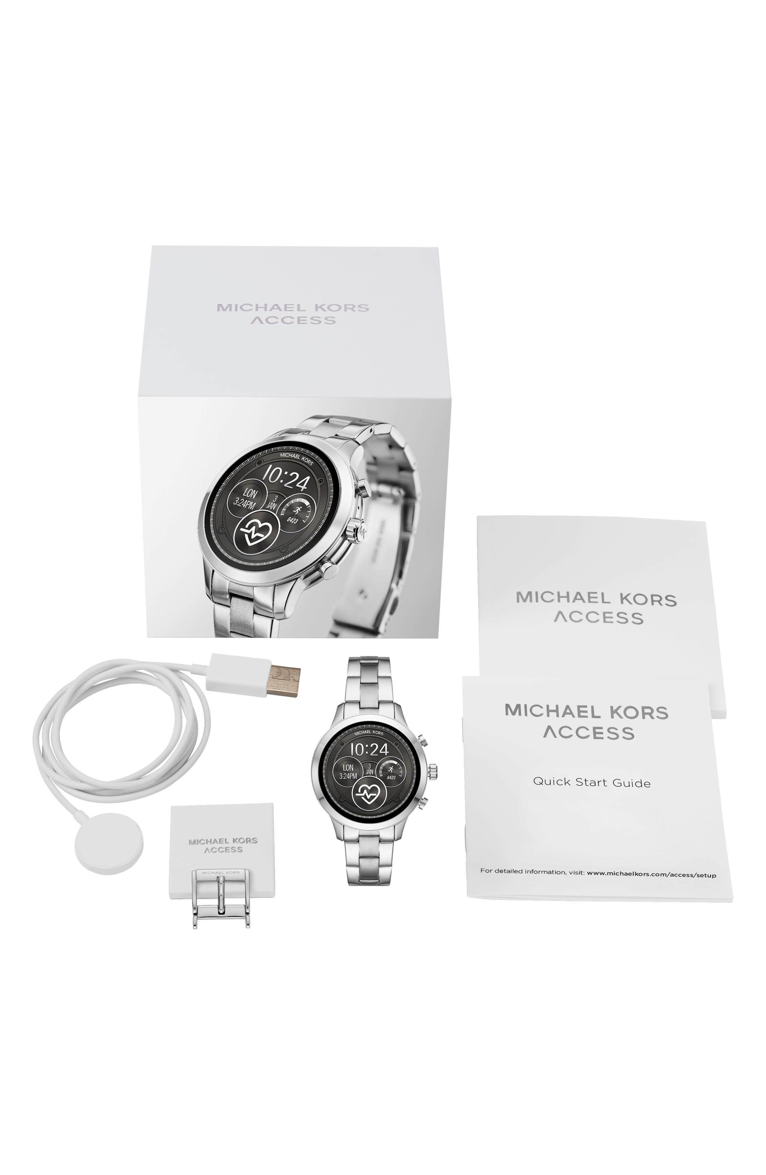 MICHAEL Michael Kors Access Runway Smart Bracelet Watch, 41mm,                             Alternate thumbnail 4, color,                             SILVER