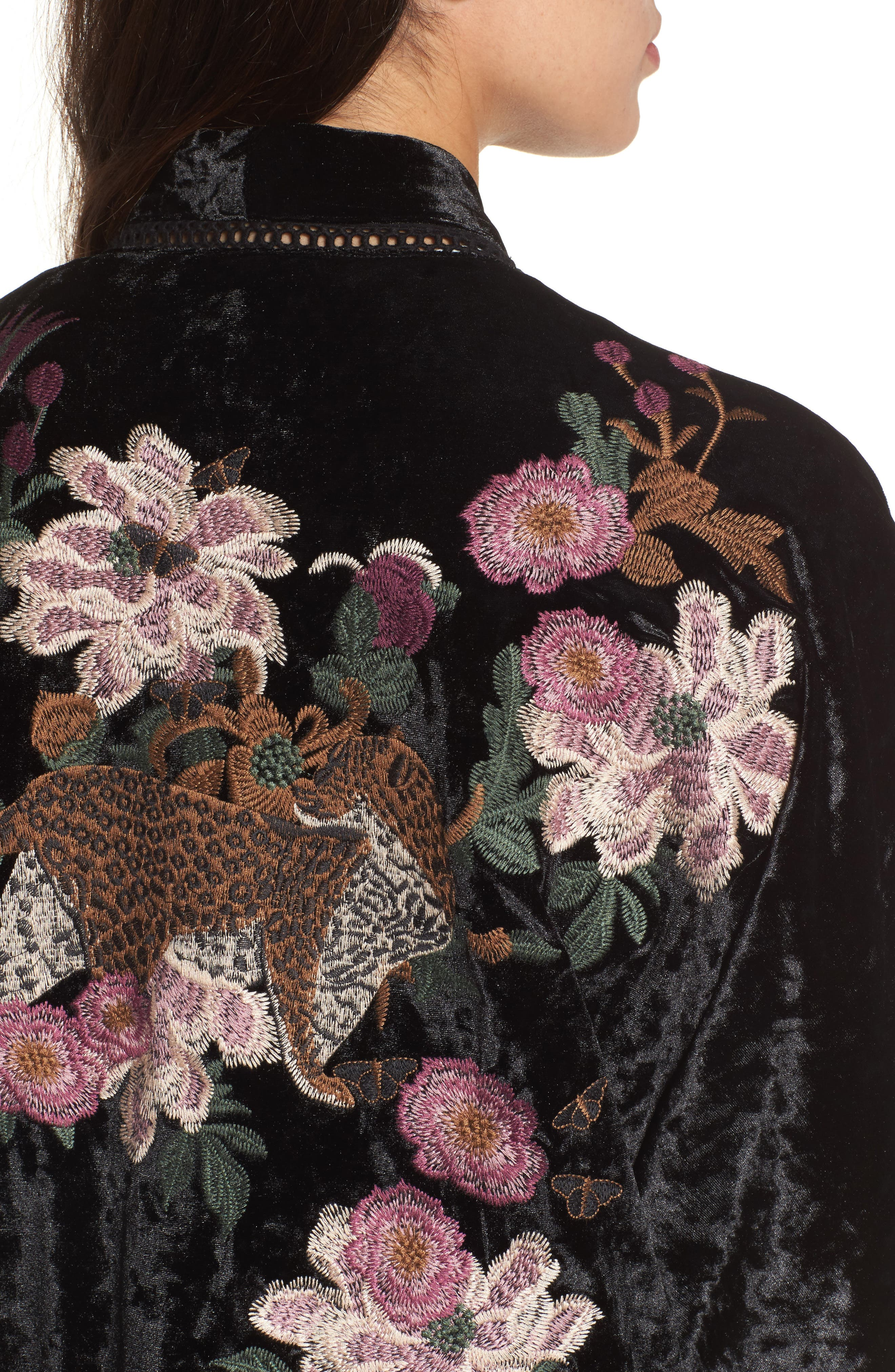 Embroidered Velvet Kimono Jacket,                             Alternate thumbnail 4, color,                             001