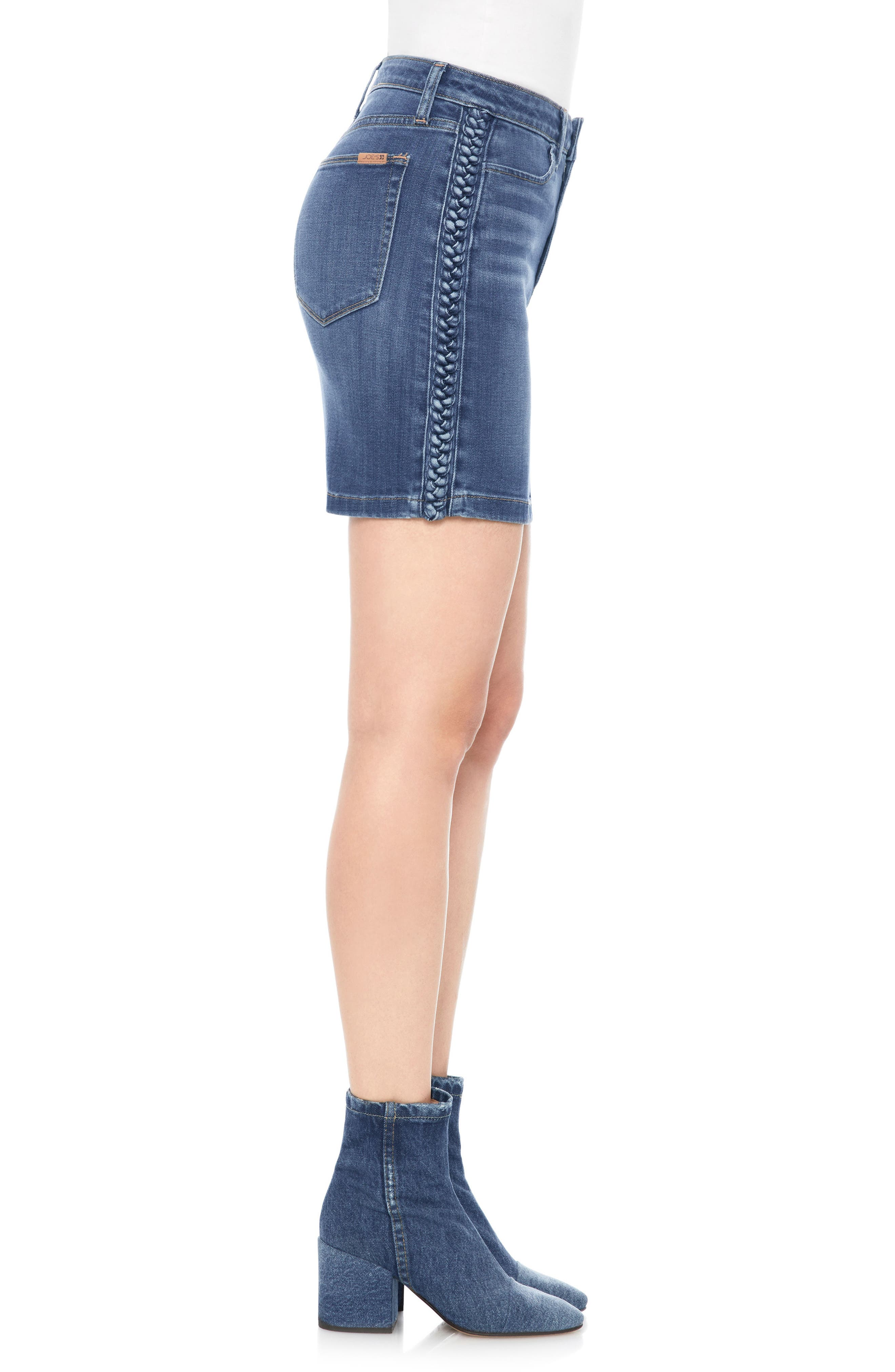 High Waist Denim Miniskirt,                             Alternate thumbnail 3, color,                             PANDORA
