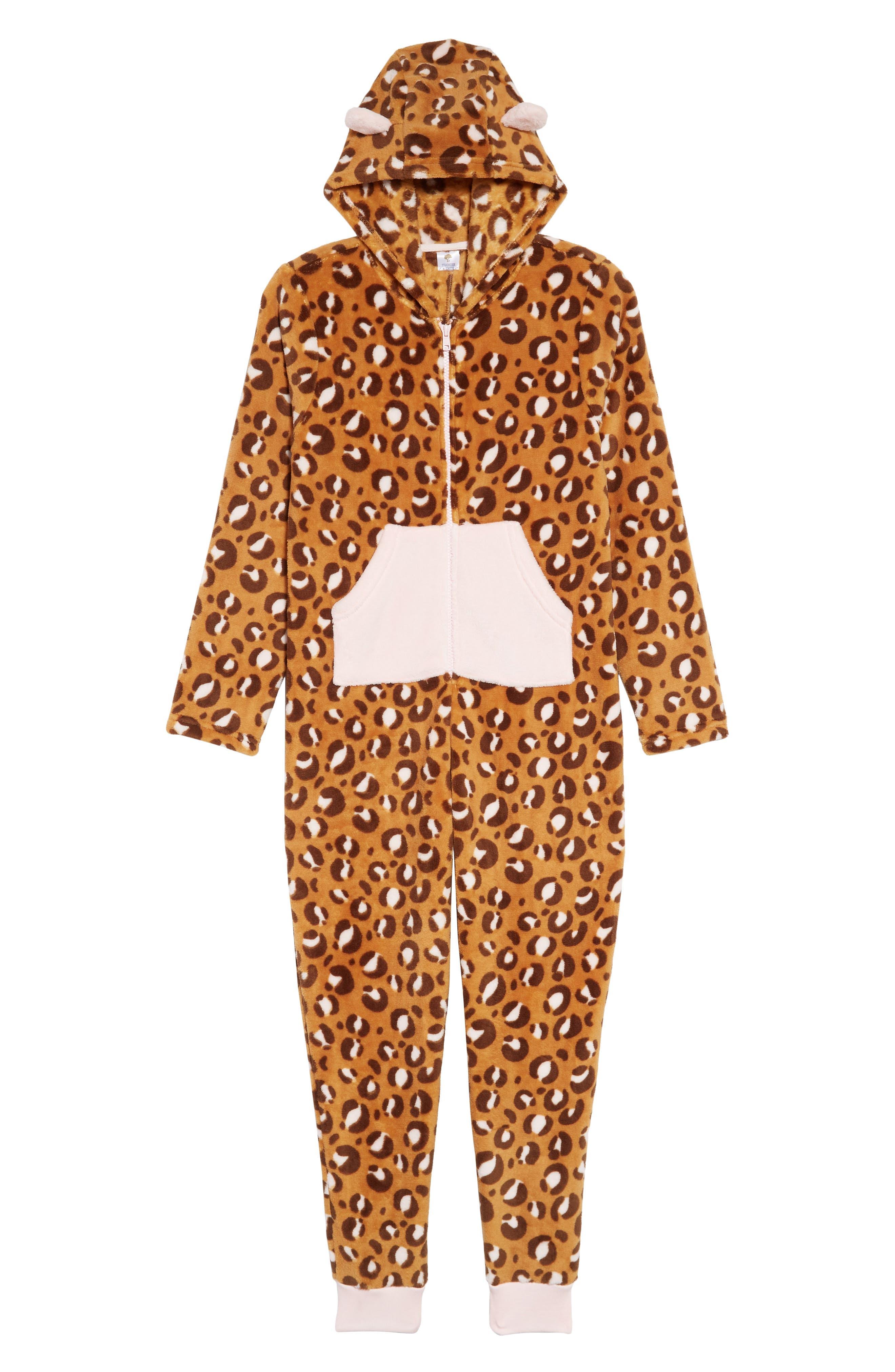 One-Piece Pajamas,                         Main,                         color, TAN DALE PUNK CHEETAH