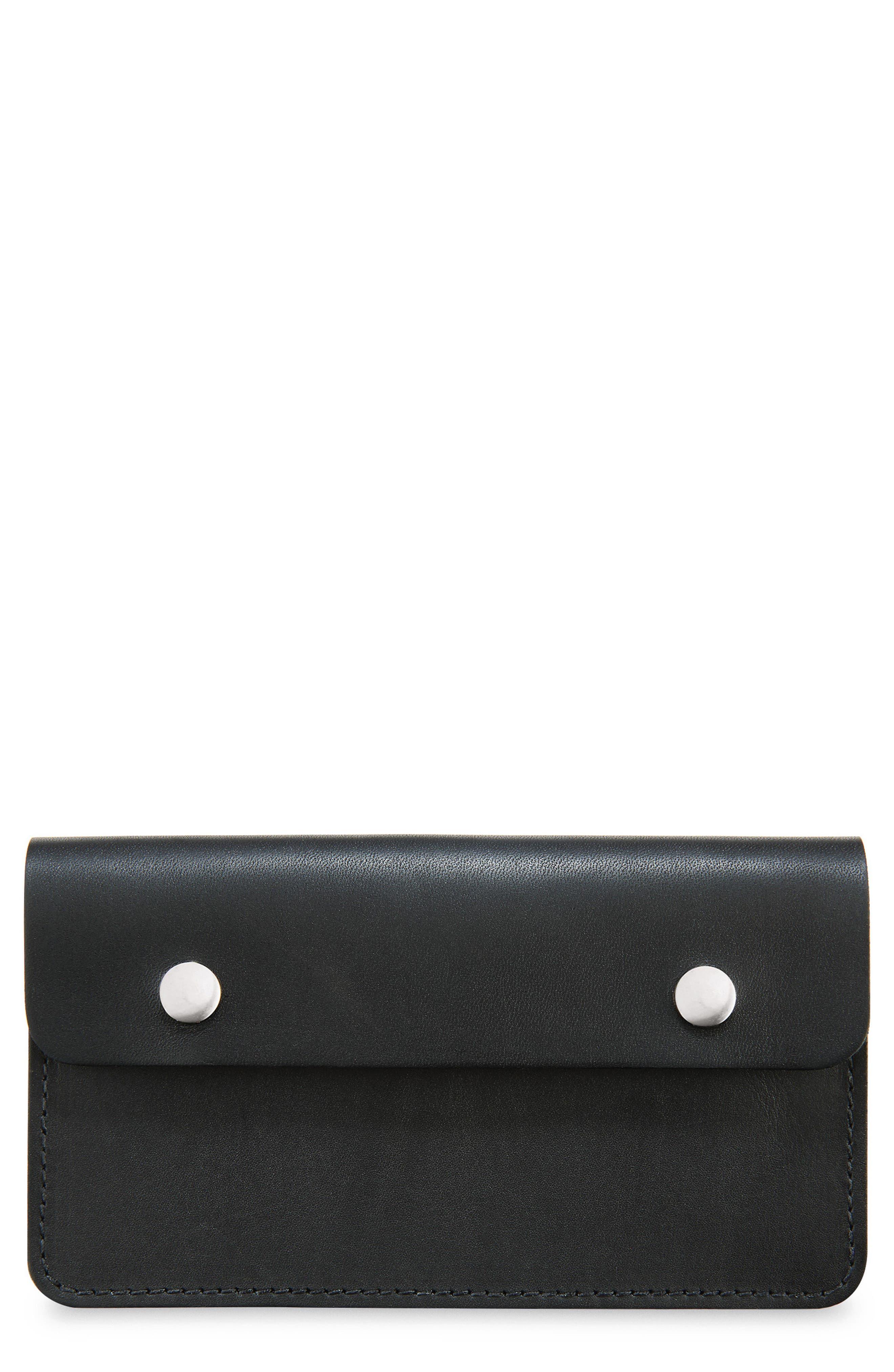 Leather Trucker Wallet,                         Main,                         color, BLACK