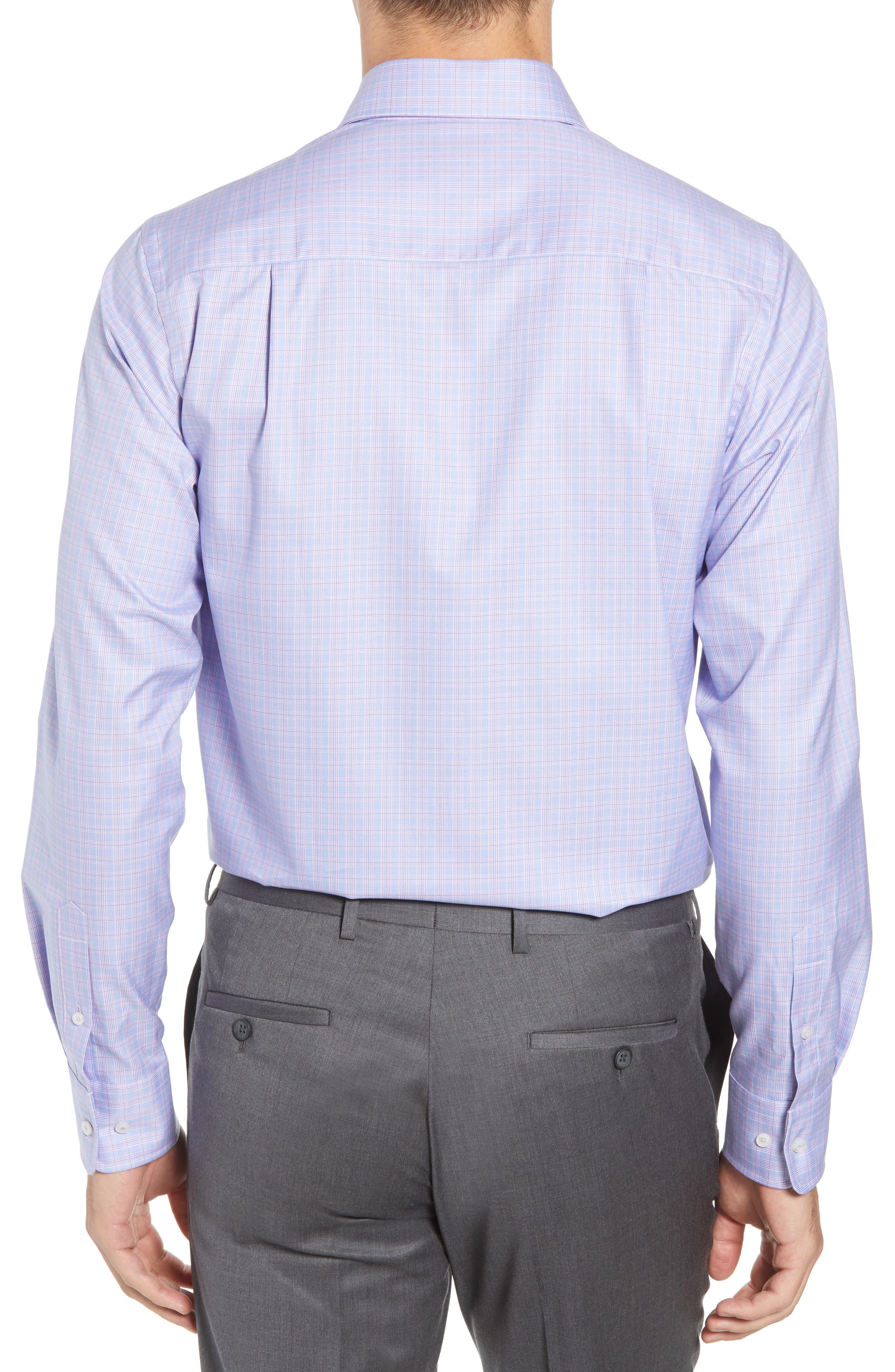 Trim Fit Plaid Dress Shirt,                             Alternate thumbnail 3, color,                             LILAC