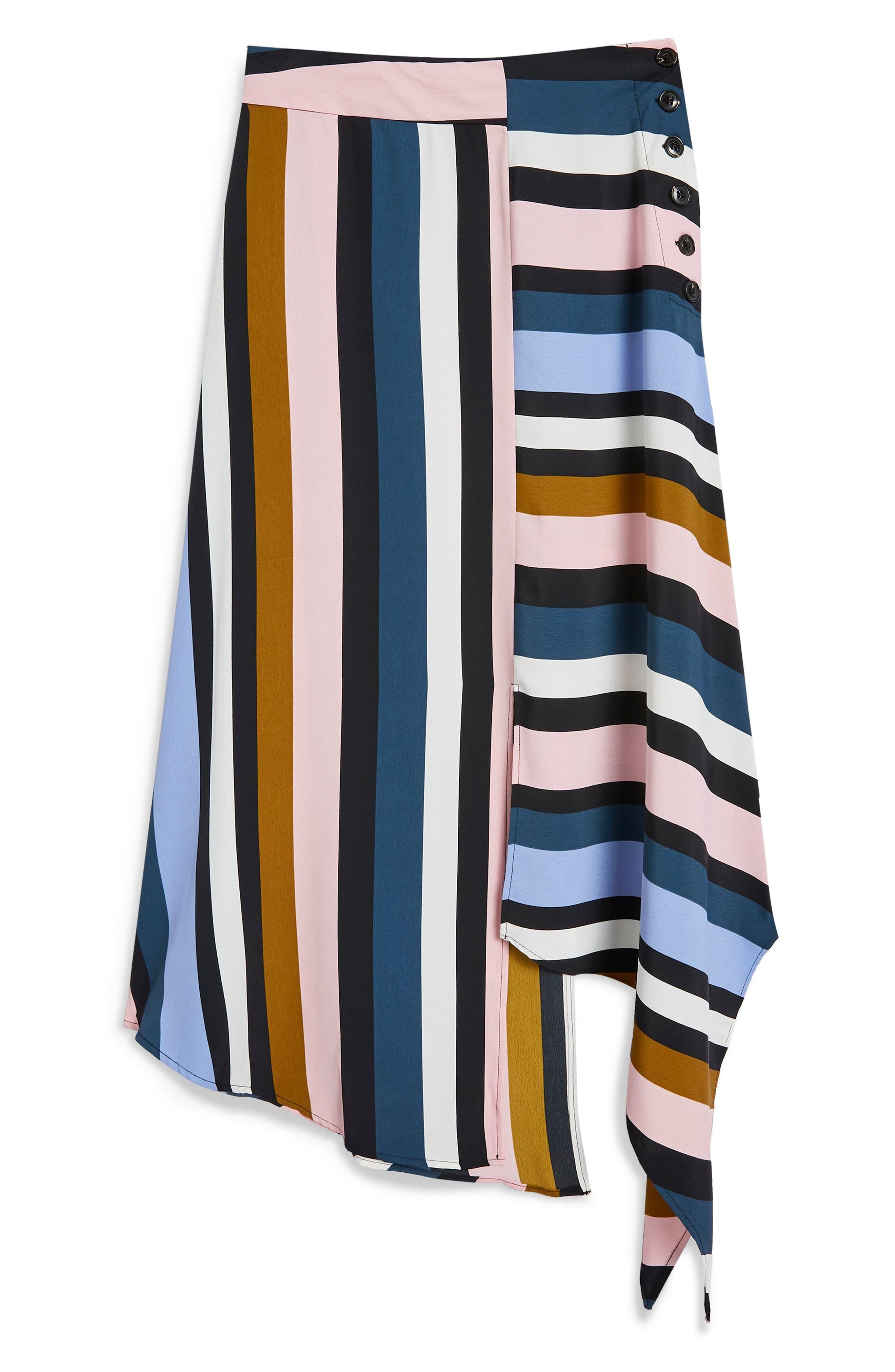 Multi Stripe Asymmetric Midi Skirt,                             Alternate thumbnail 5, color,                             BLACK MULTI
