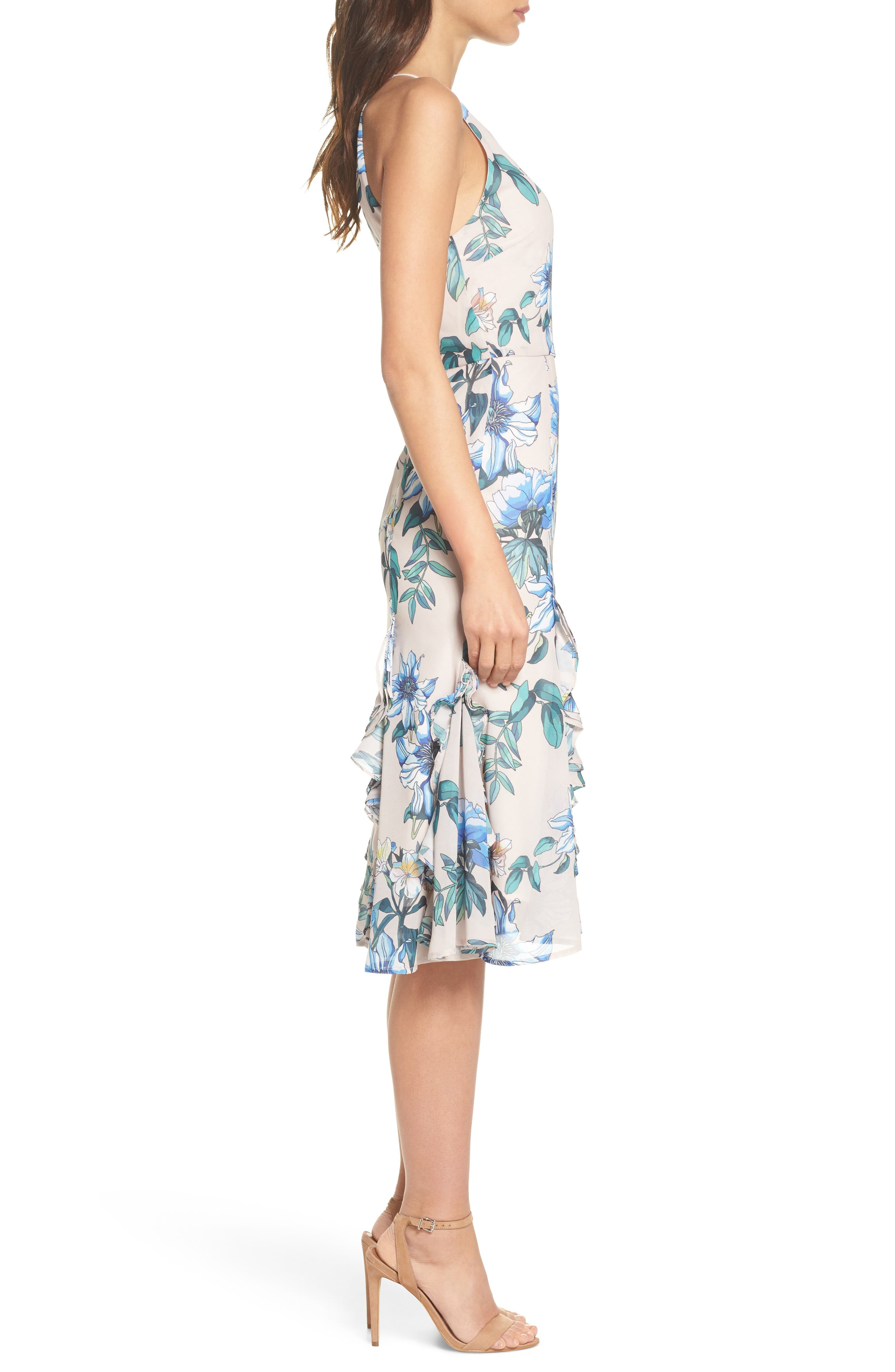 Floral Courtyard Midi Dress,                             Alternate thumbnail 3, color,