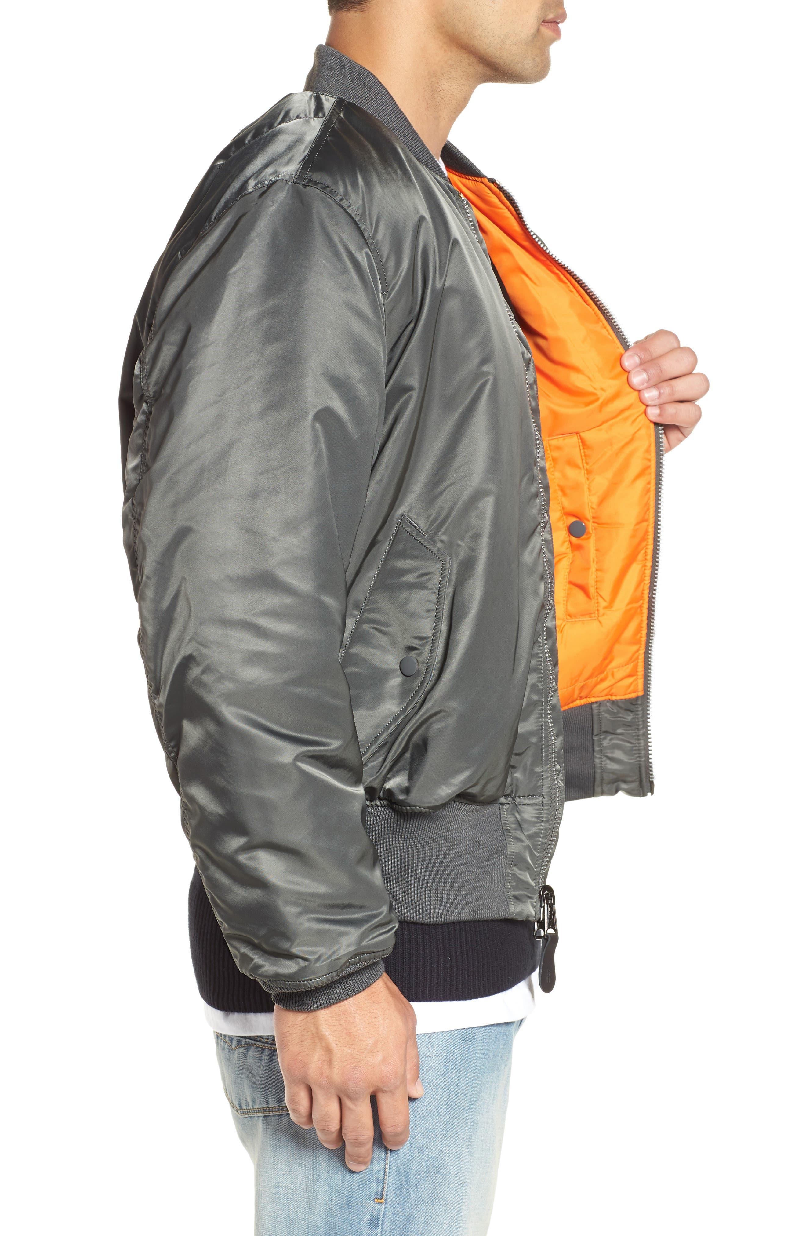 Reversible Flight Jacket,                             Alternate thumbnail 3, color,                             GUNMETAL