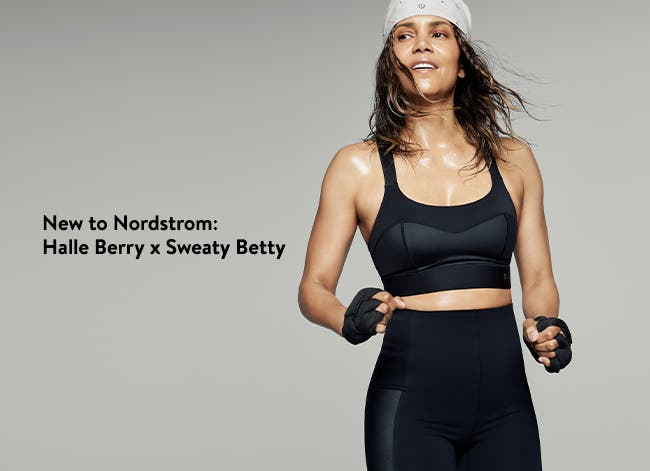 Halle Berry wearing clothing from the Halle Berry x Sweaty Betty collection.