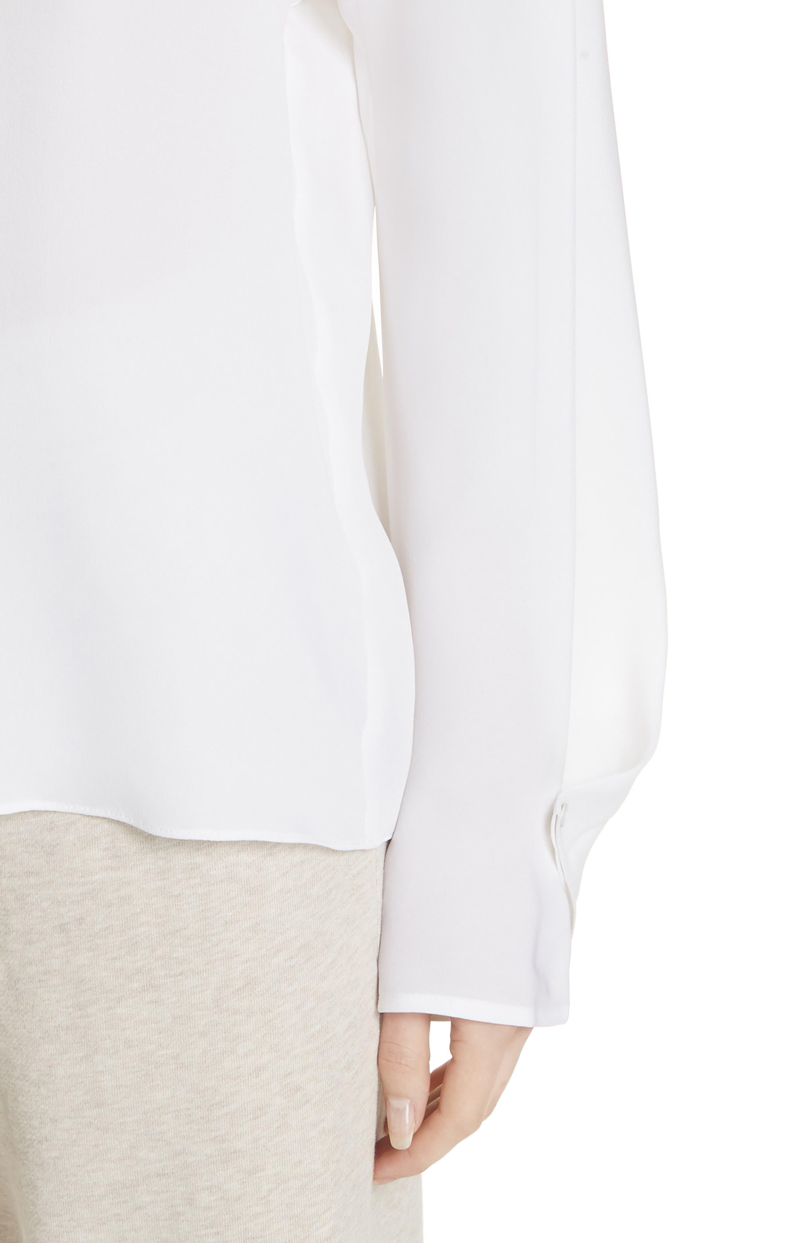 Envelope Sleeve Silk Blouse,                             Alternate thumbnail 4, color,                             OPTIC WHITE