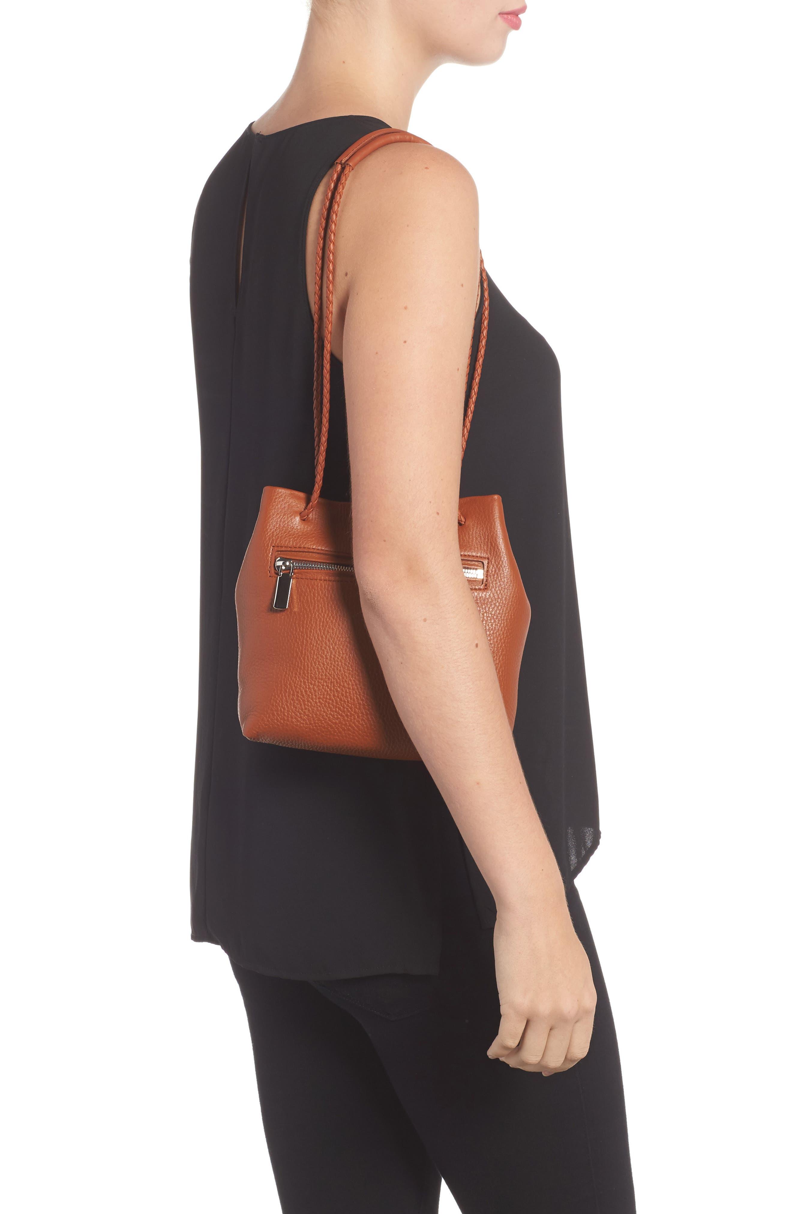 Mini Pebbled Leather Drawstring Crossbody Bag,                             Alternate thumbnail 5, color,