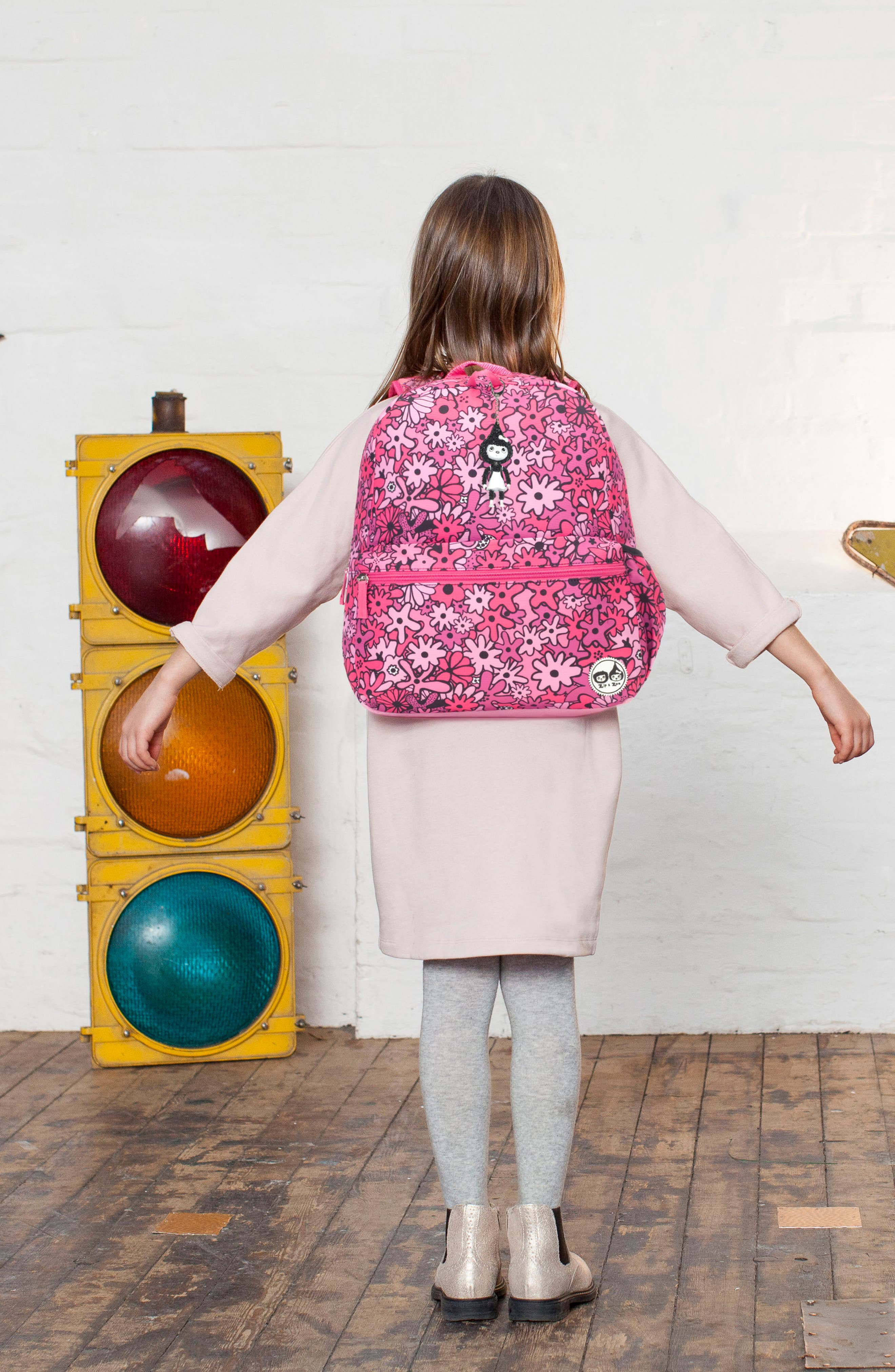 Zip & Zoe Floral Junior Backpack,                             Alternate thumbnail 10, color,                             FLORAL PINK