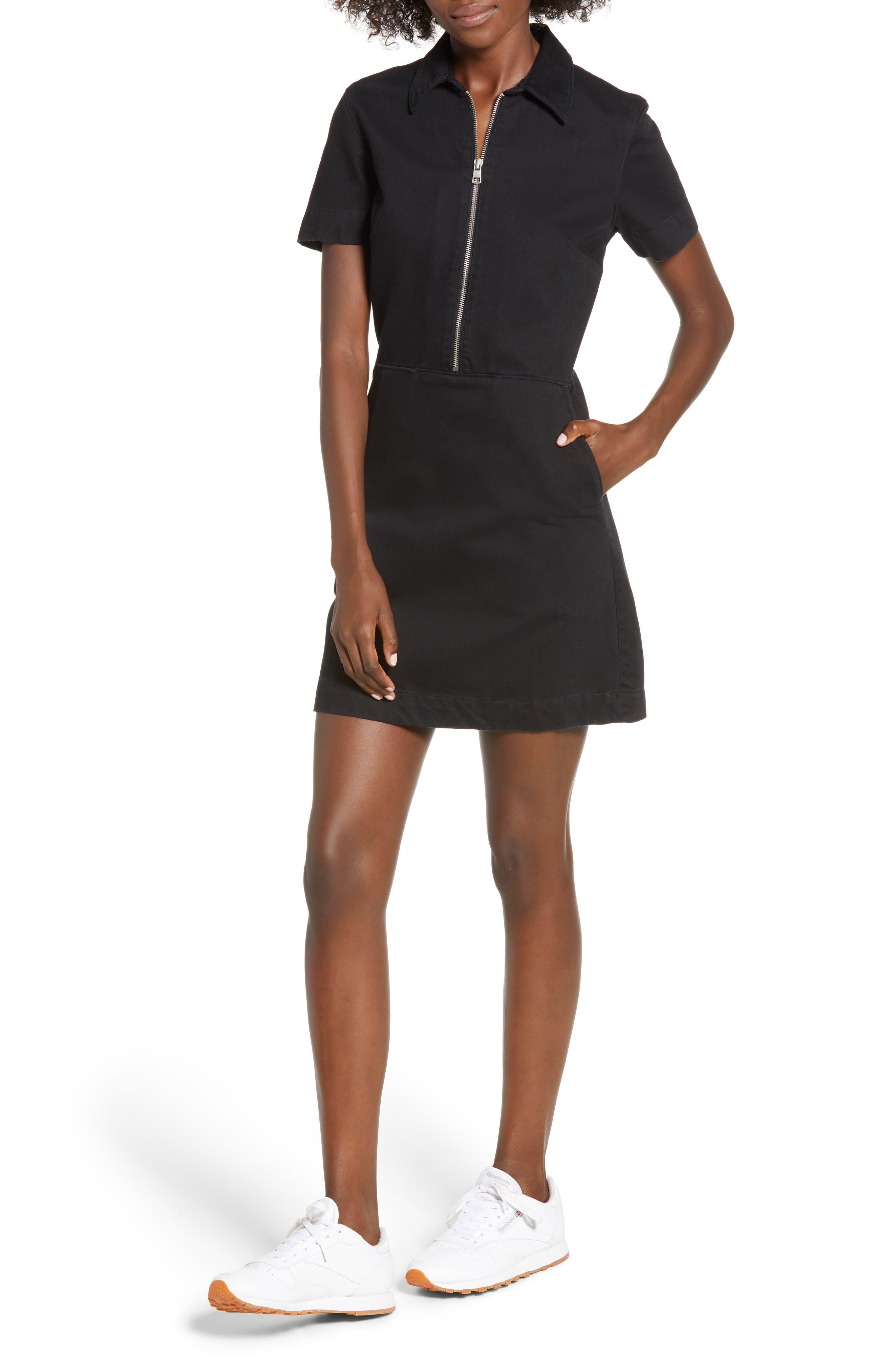 Zip Front Dress,                             Main thumbnail 1, color,                             BLACK STONE