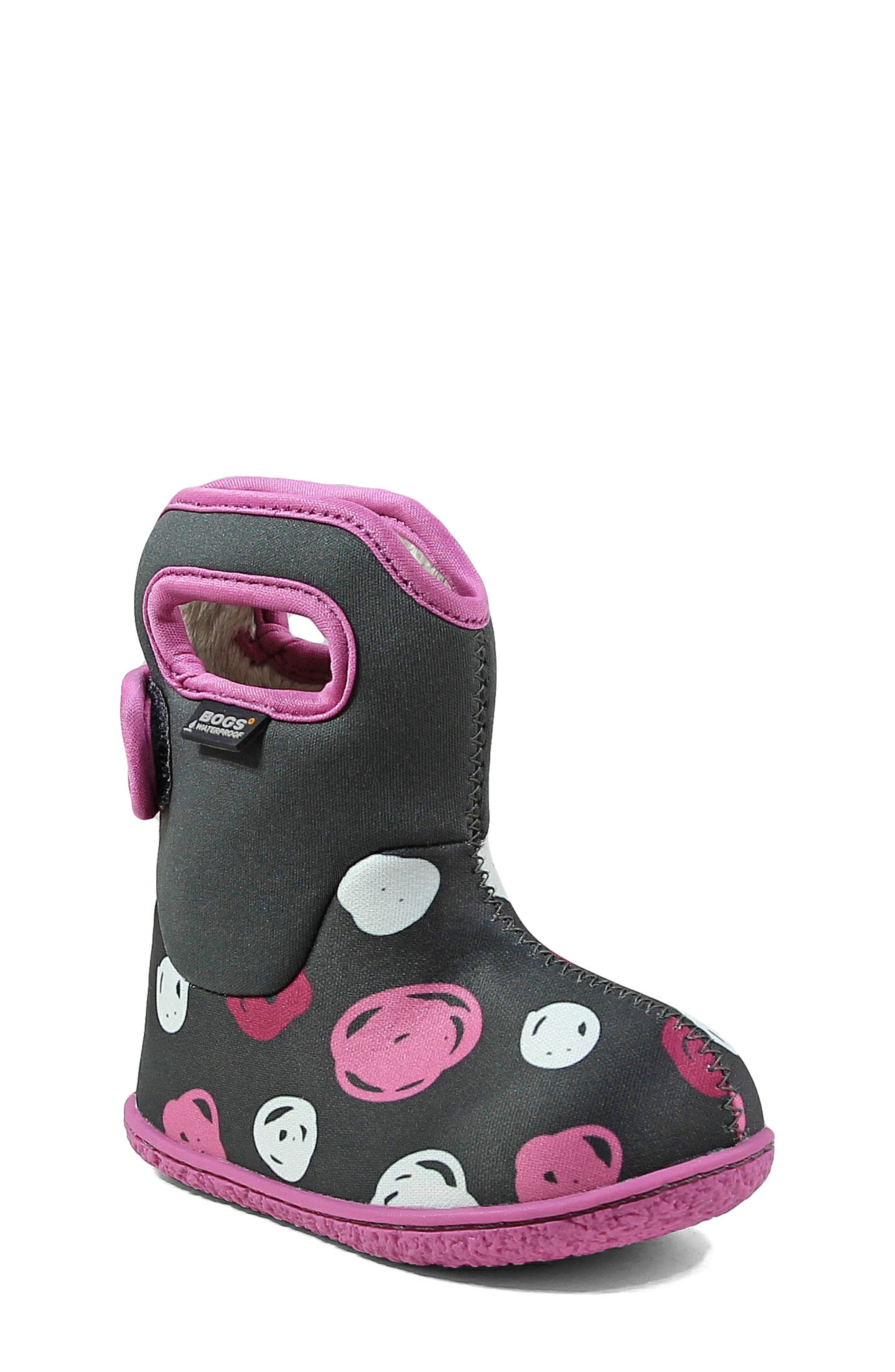 Baby Bogs Classic Sketched Dots Washable Insulated Waterproof Boot,                             Main thumbnail 1, color,                             DARK GRAY MULTI