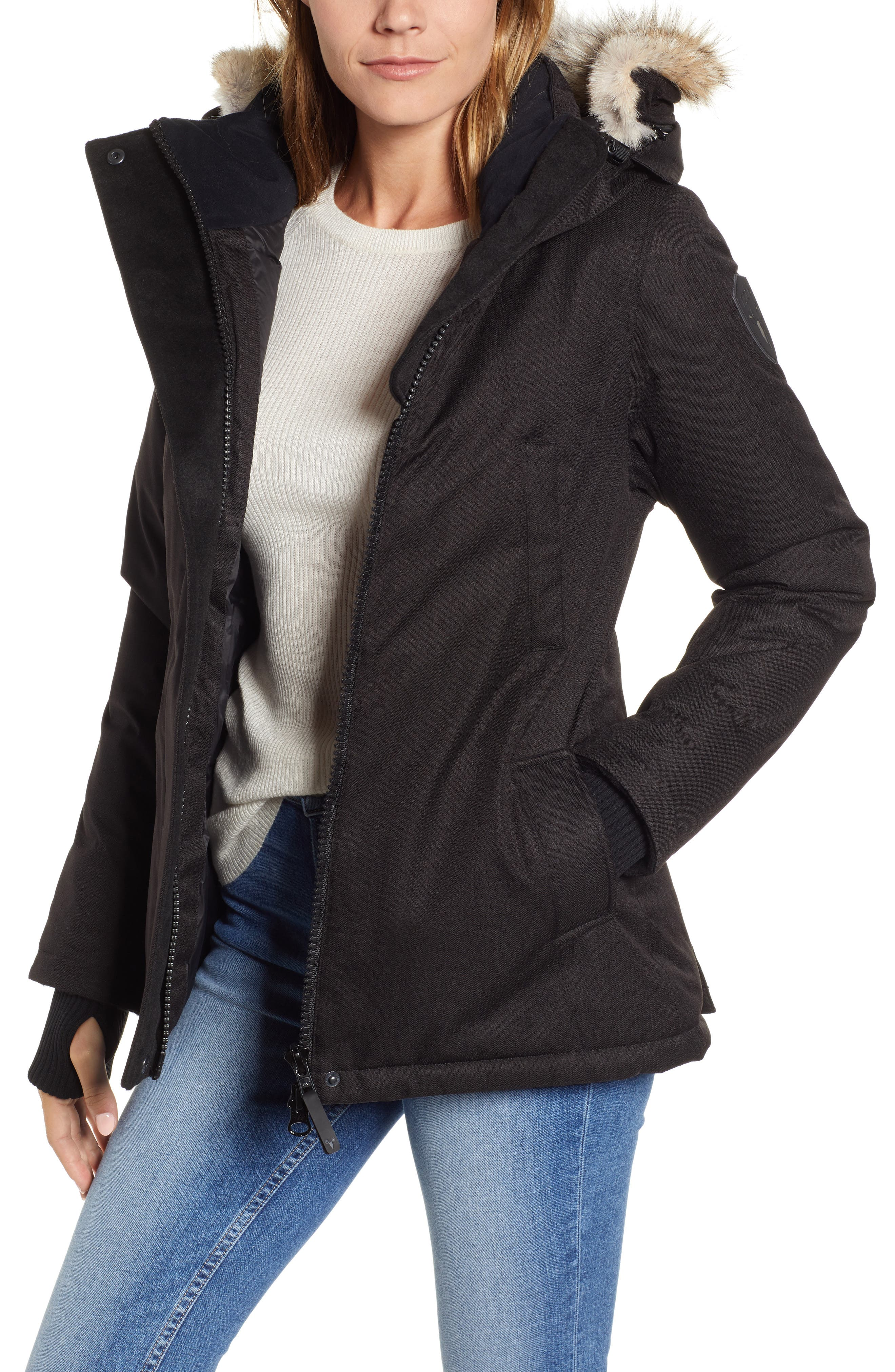 Lindsay Hooded Down Parka with Genuine Coyote Fur Trim,                             Main thumbnail 1, color,                             BLACK