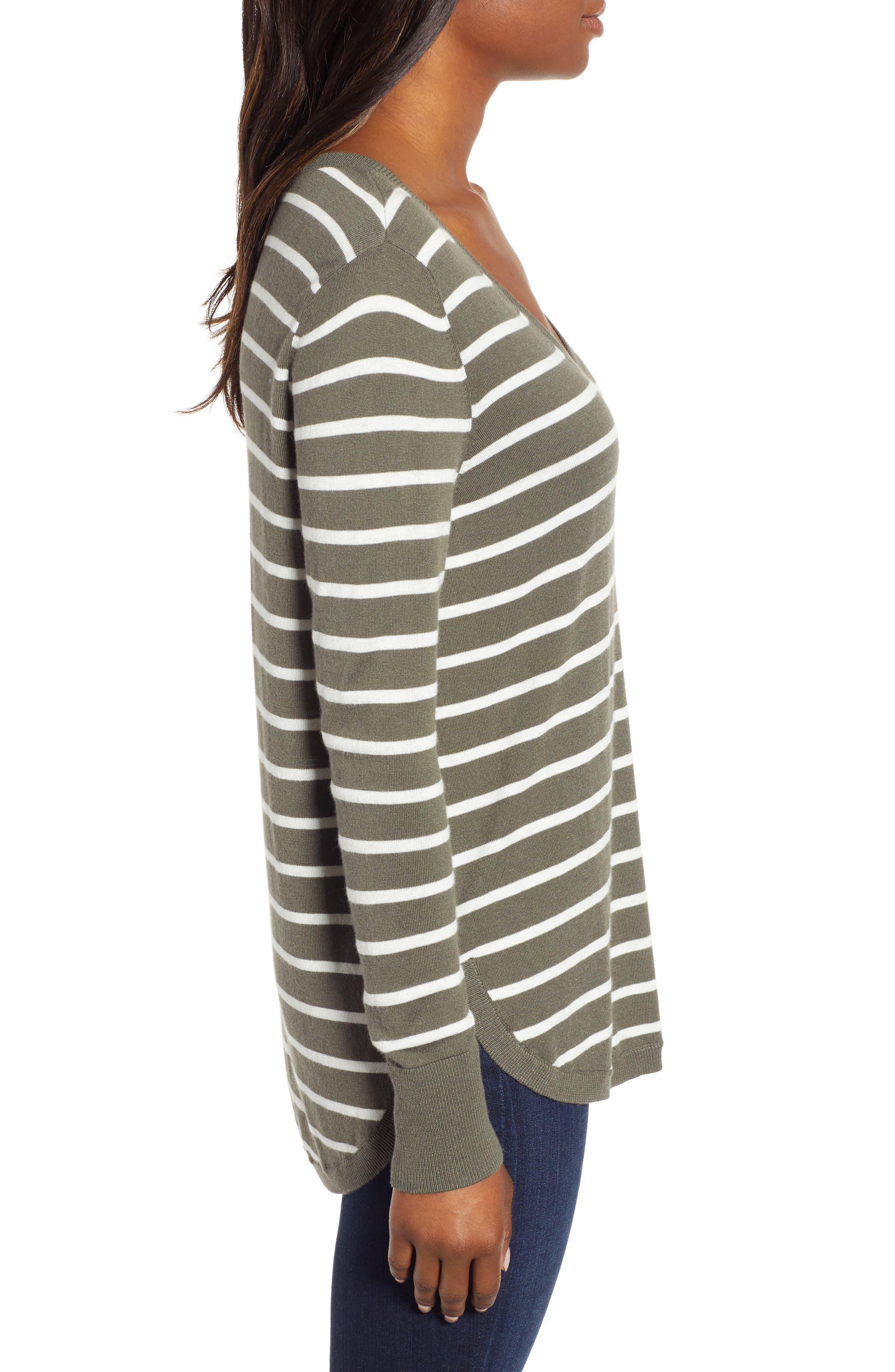 High-Low V-neck Sweater,                             Alternate thumbnail 3, color,                             GREEN- IVORY PRITHI STRIPE