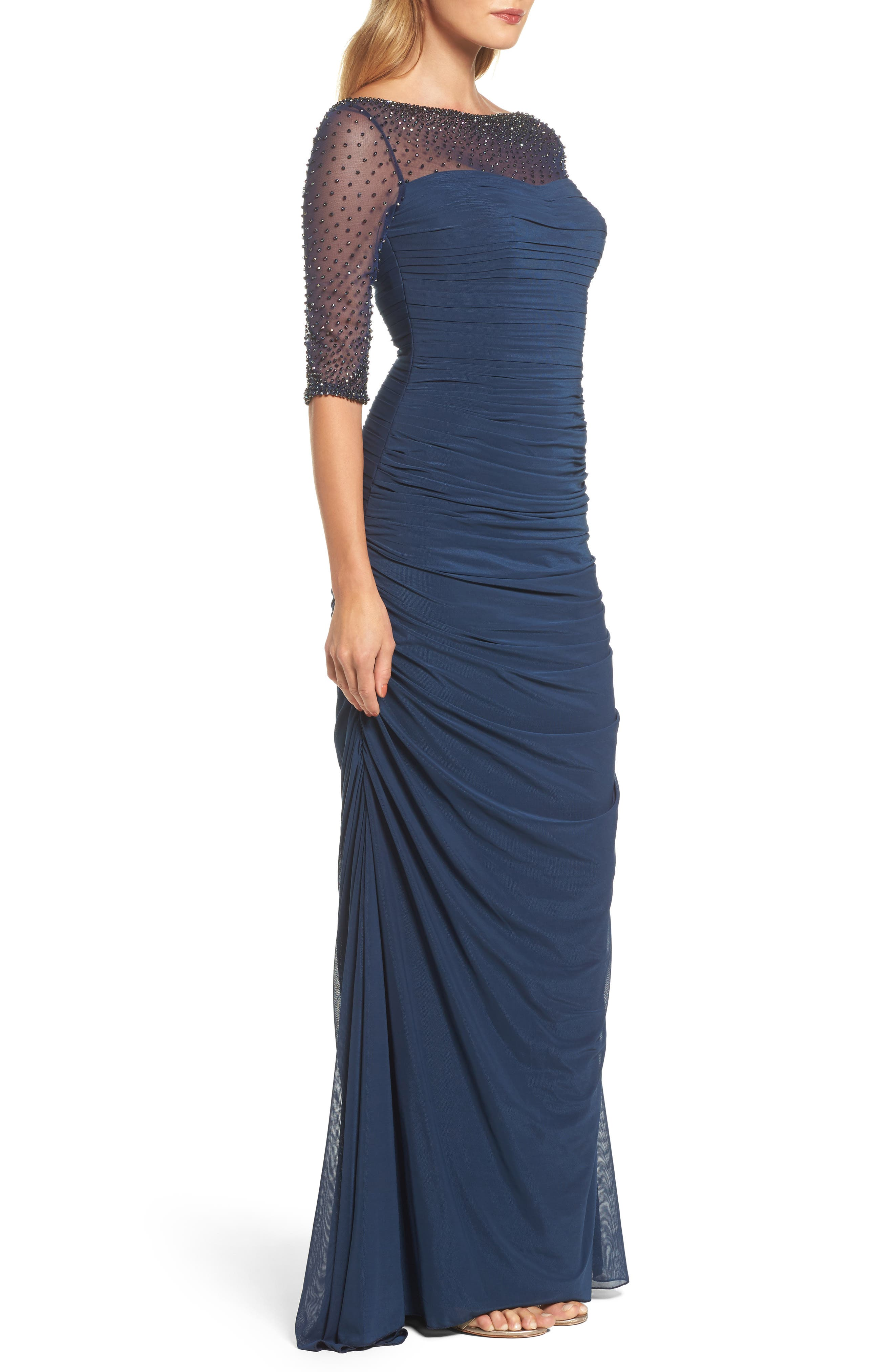 Embellished Mesh Ruched Jersey Gown,                             Alternate thumbnail 3, color,                             NAVY