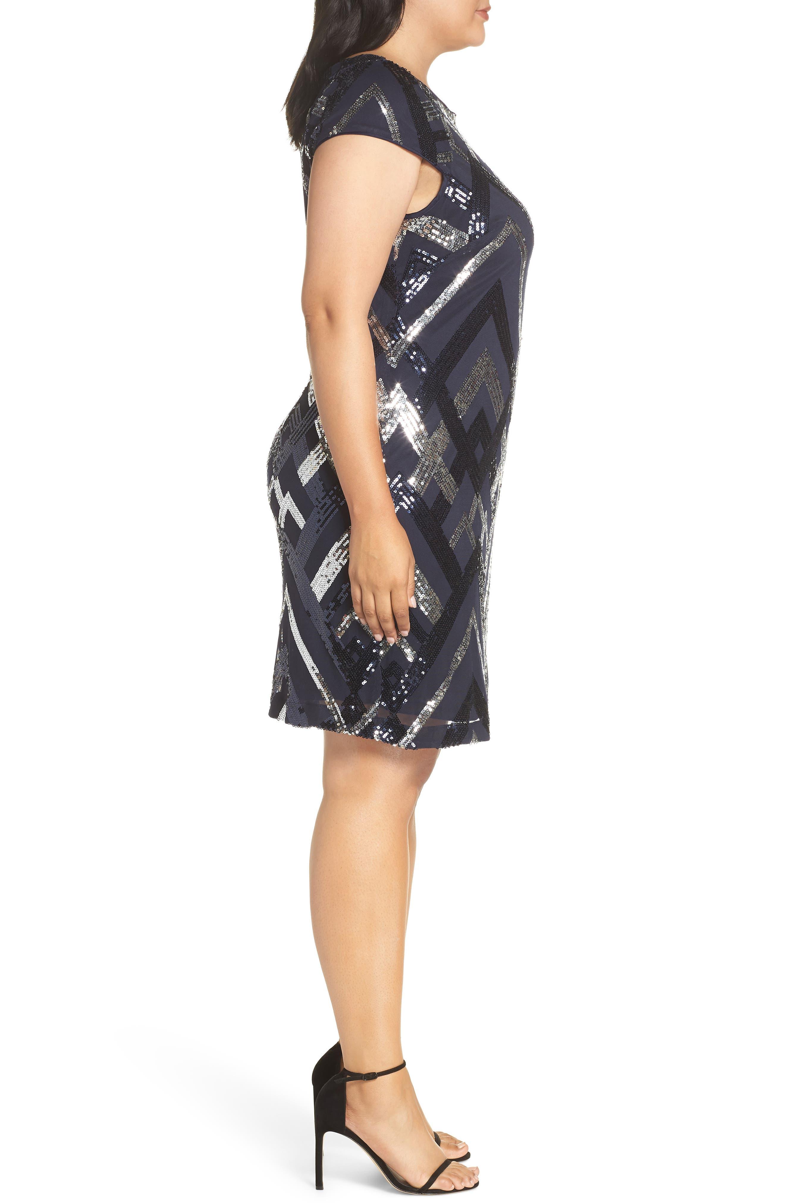 Sequin Cap Sleeve Sheath Dress,                             Alternate thumbnail 3, color,                             470