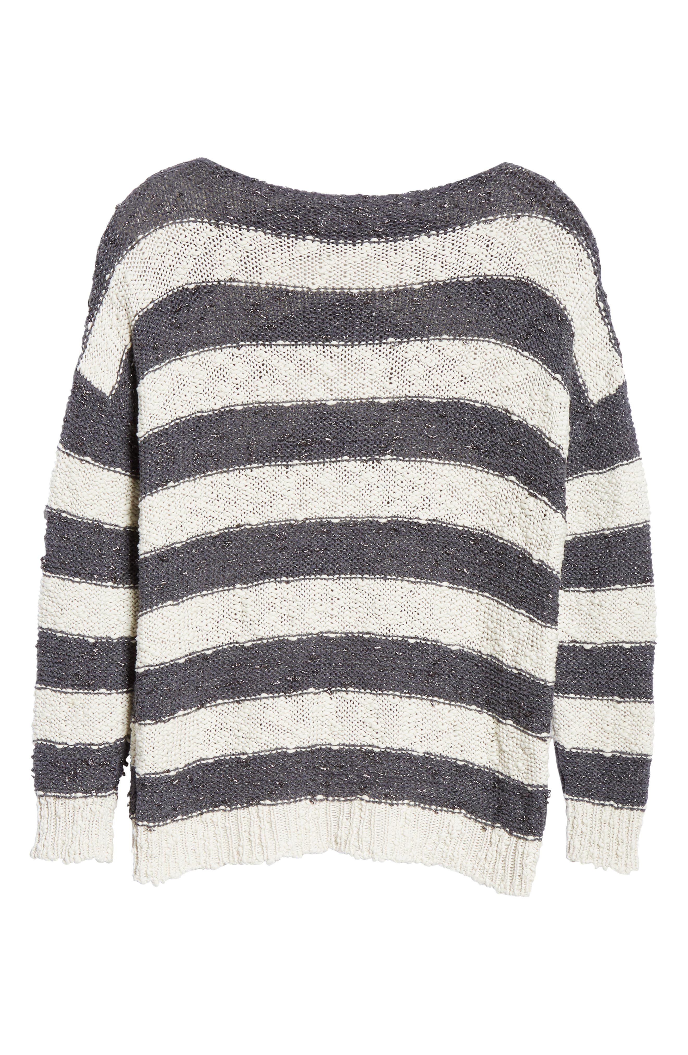 Stripe Knit Sweater,                             Alternate thumbnail 6, color,                             SLATE/ WHITE