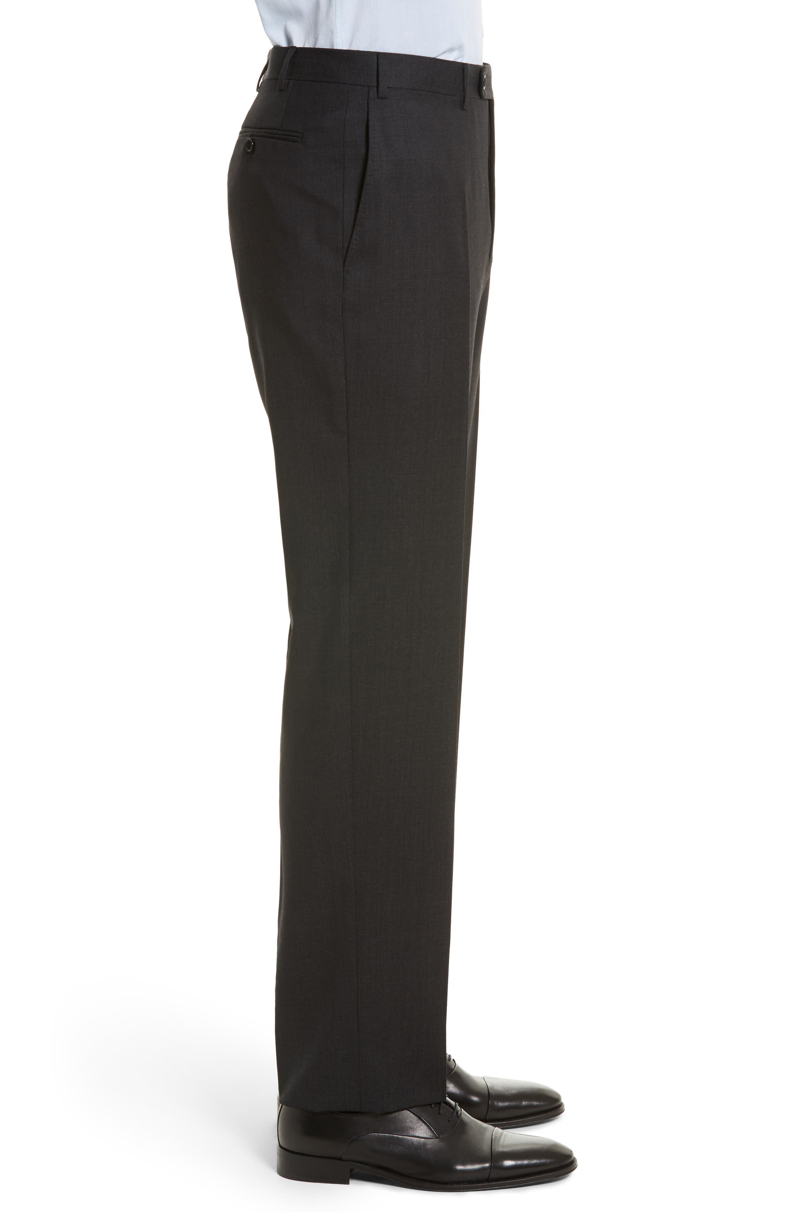 Flat Front Stripe Wool Trousers,                             Alternate thumbnail 4, color,                             020