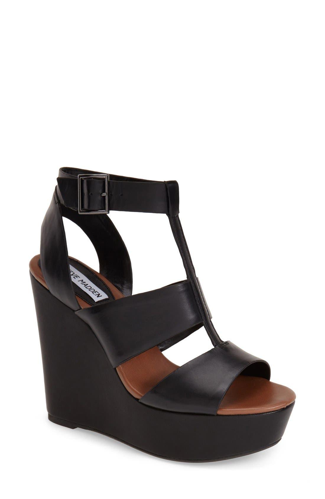 STEVE MADDEN 'Keenia' Wedge Sandal, Main, color, 001