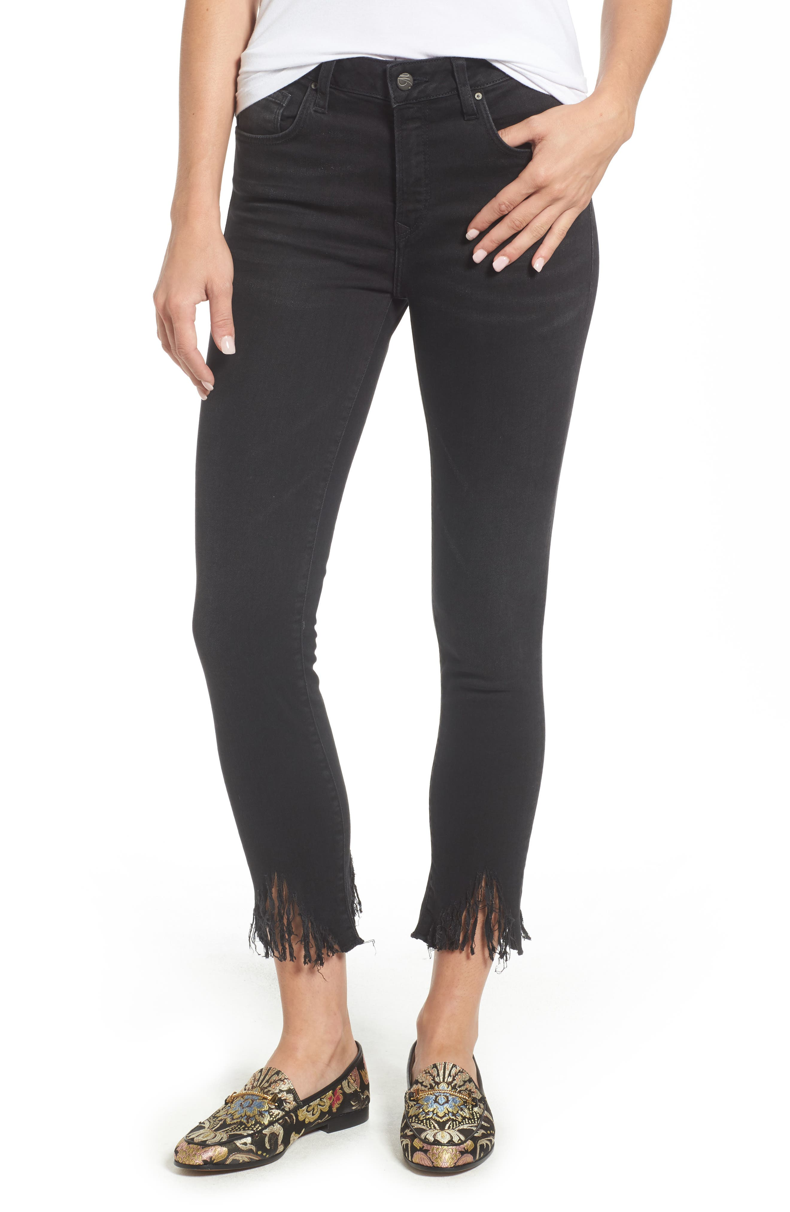 Tess Fringe Skinny Crop Jeans,                             Main thumbnail 1, color,                             SMOKE FRINGE