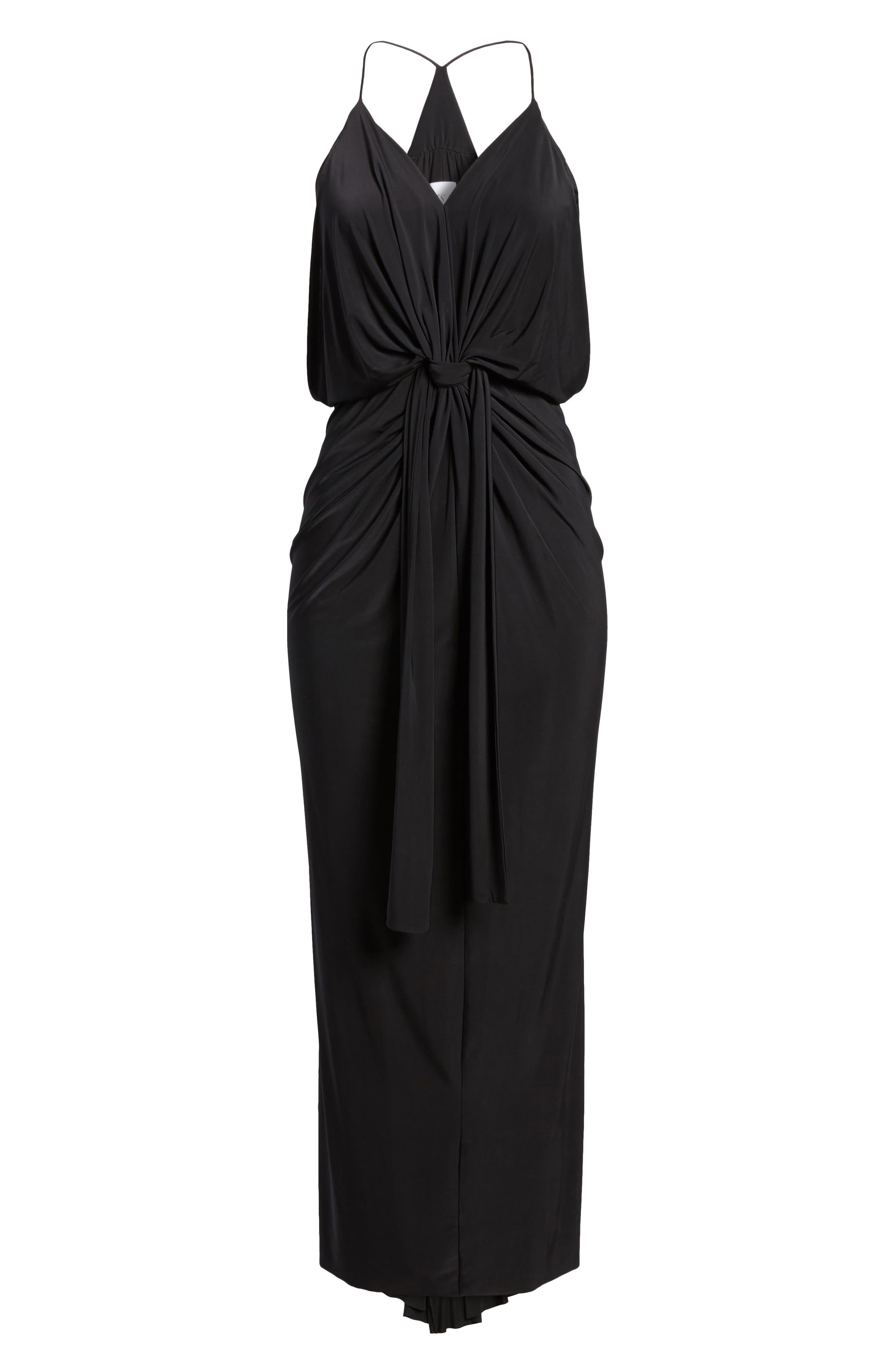 Domino Knot Maxi Dress,                             Alternate thumbnail 7, color,                             BLACK