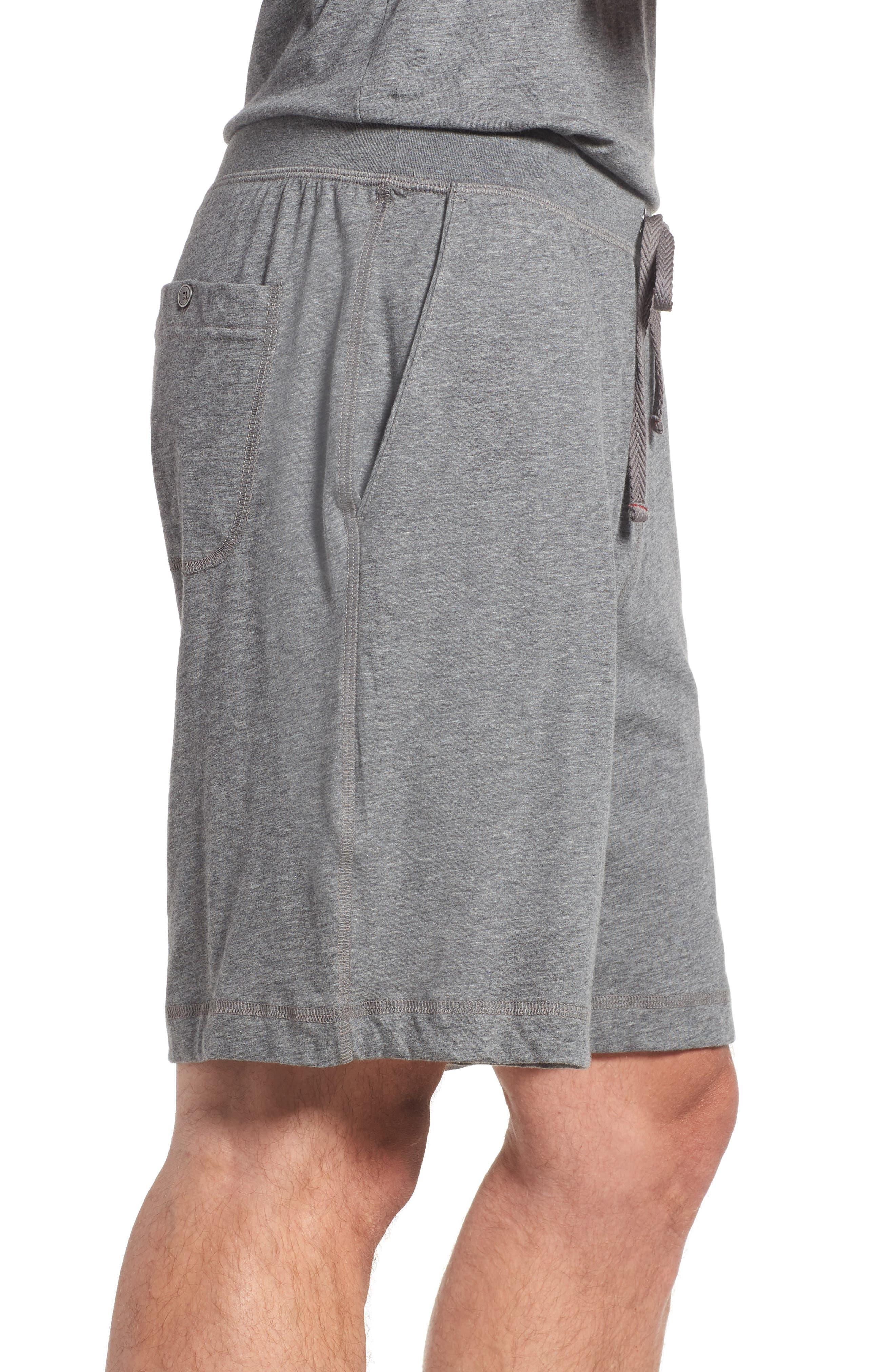 Pima Cotton Lounge Shorts,                             Alternate thumbnail 3, color,                             CHARCOAL HEATHER