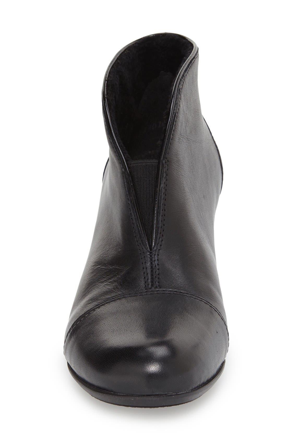 'Sarah' Cap Toe Bootie,                             Alternate thumbnail 3, color,                             BLACK LEATHER