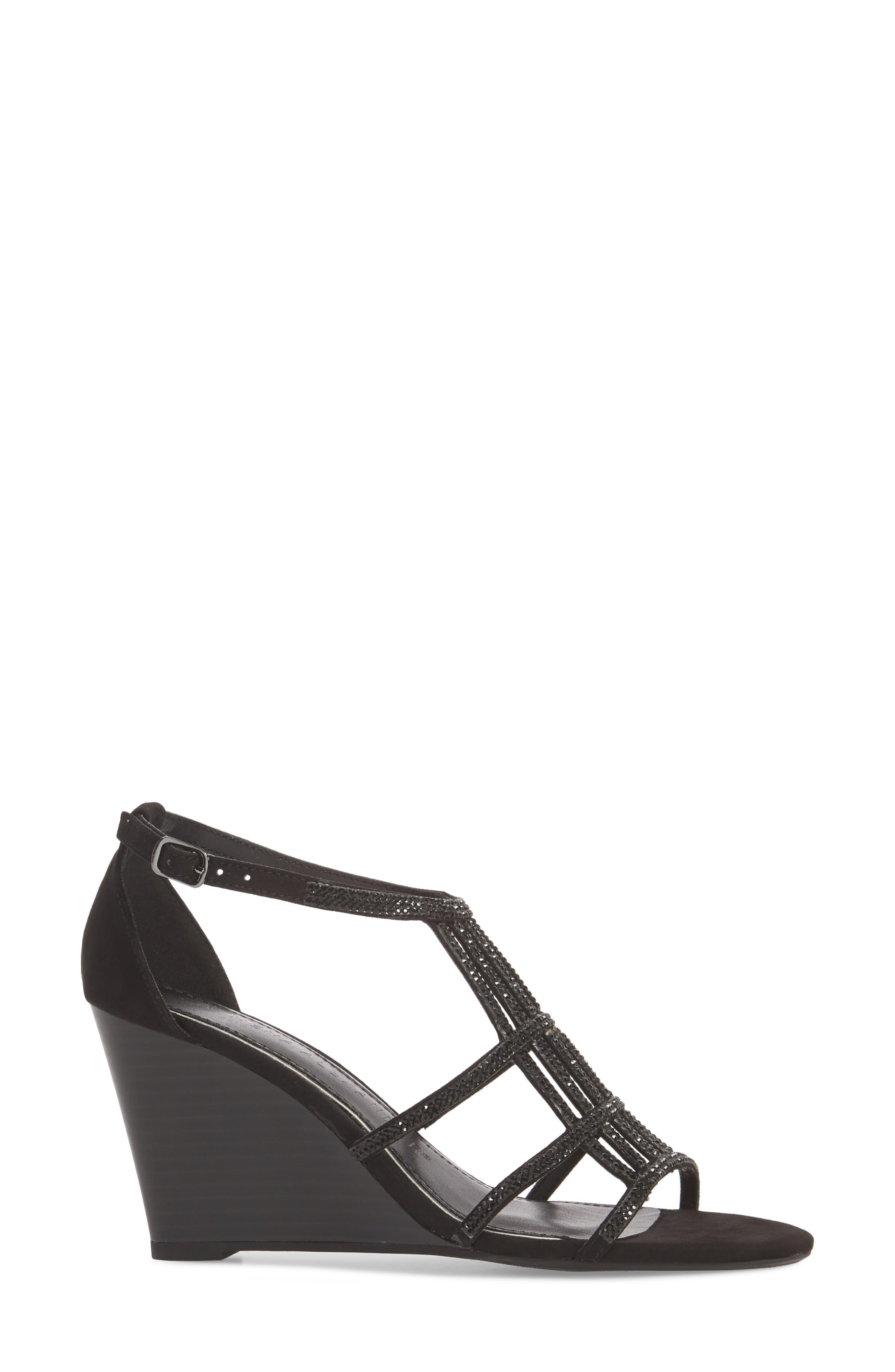 Hampton Crystal Embellished Wedge Sandal,                             Alternate thumbnail 3, color,                             BLACK SUEDE