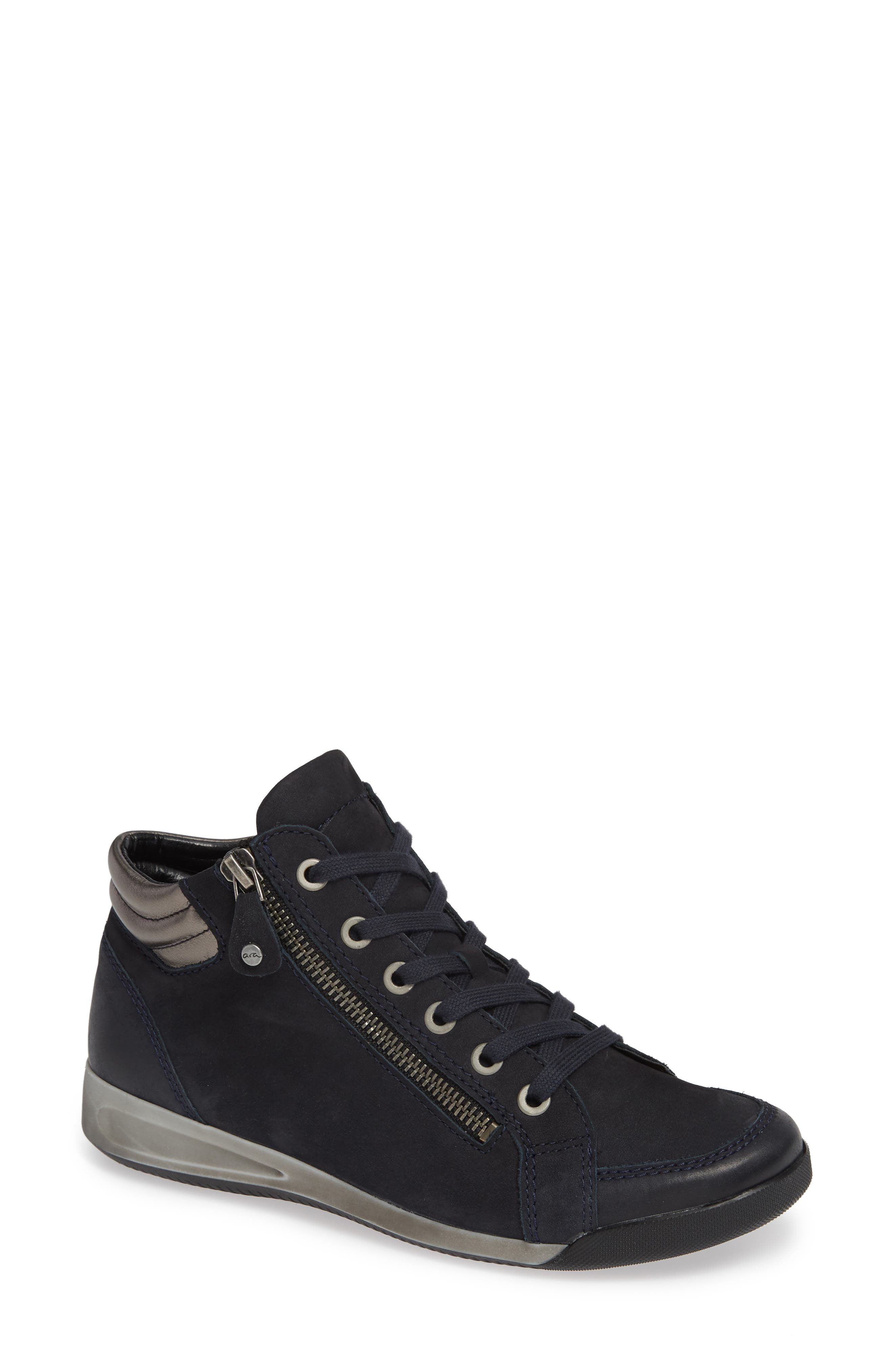 Rylee High Top Sneaker,                             Main thumbnail 1, color,                             BLUE NUBUCK LEATHER