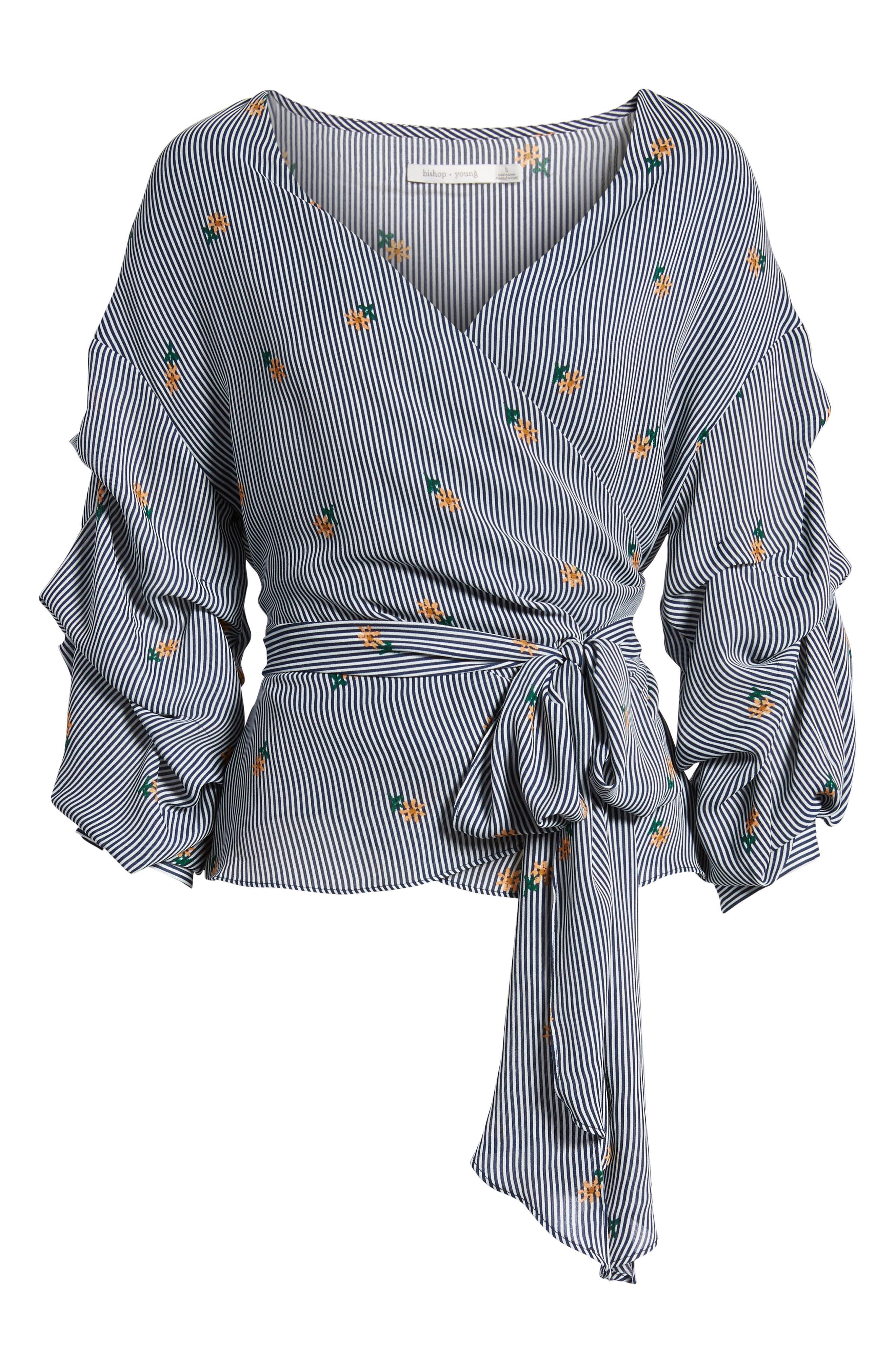 Bishop + Young Majorca Stripe Wrap Top,                             Alternate thumbnail 7, color,                             MAJORCA STRIPE