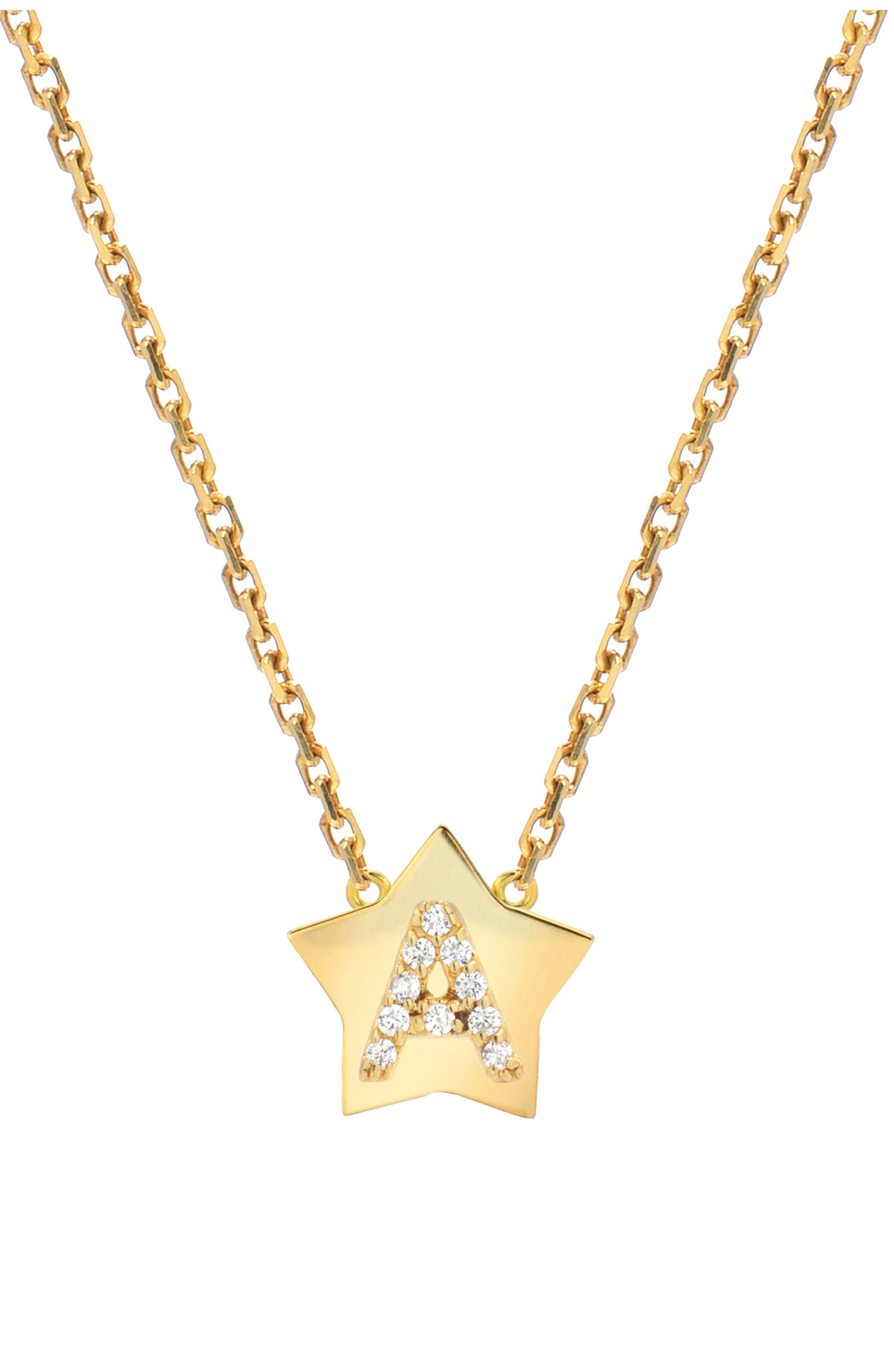 Star-Framed Diamond Initial Pendant Necklace,                             Main thumbnail 1, color,                             YELLOW GOLD-A