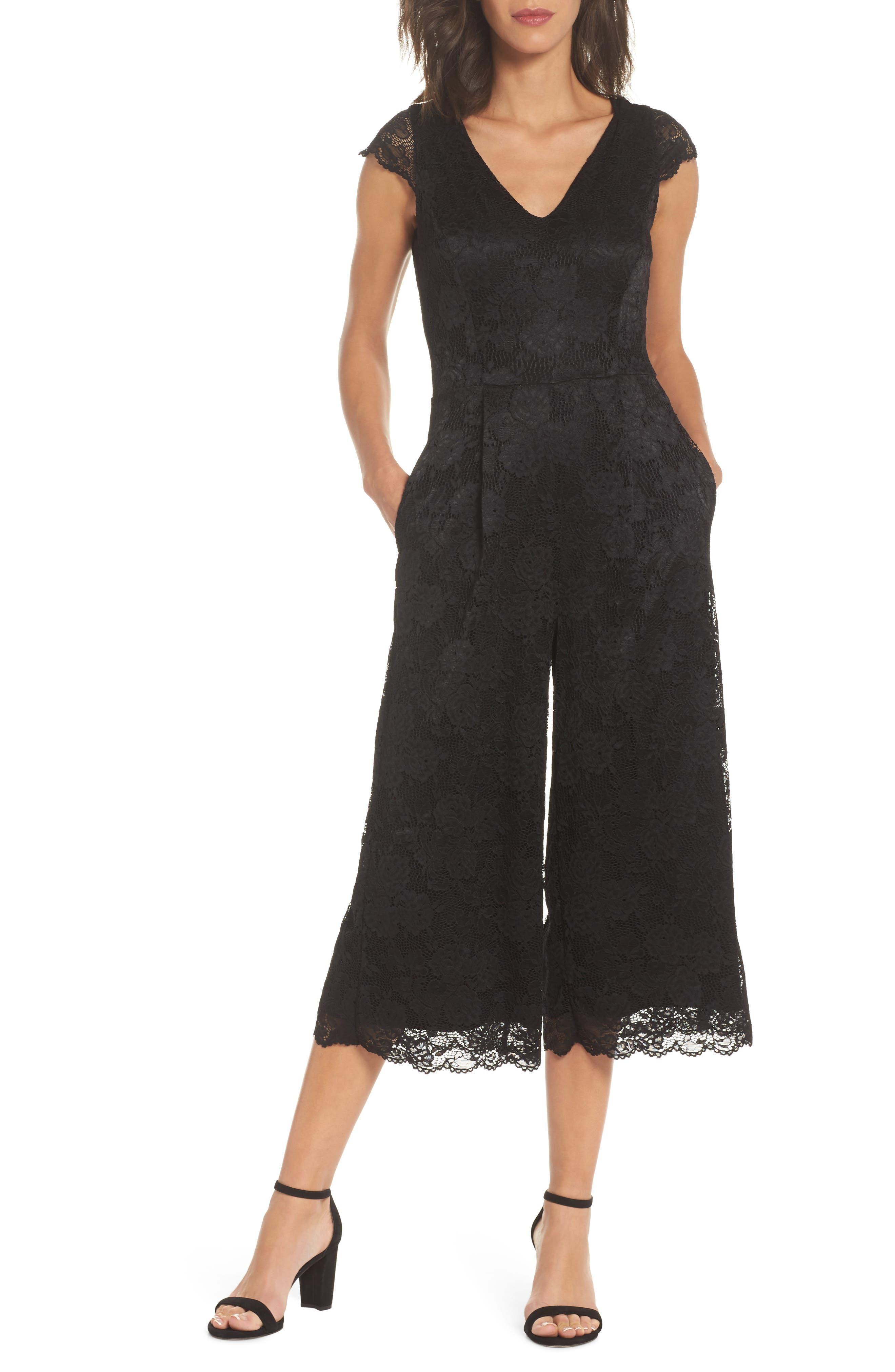 Lace Jumpsuit,                             Main thumbnail 1, color,                             BLACK