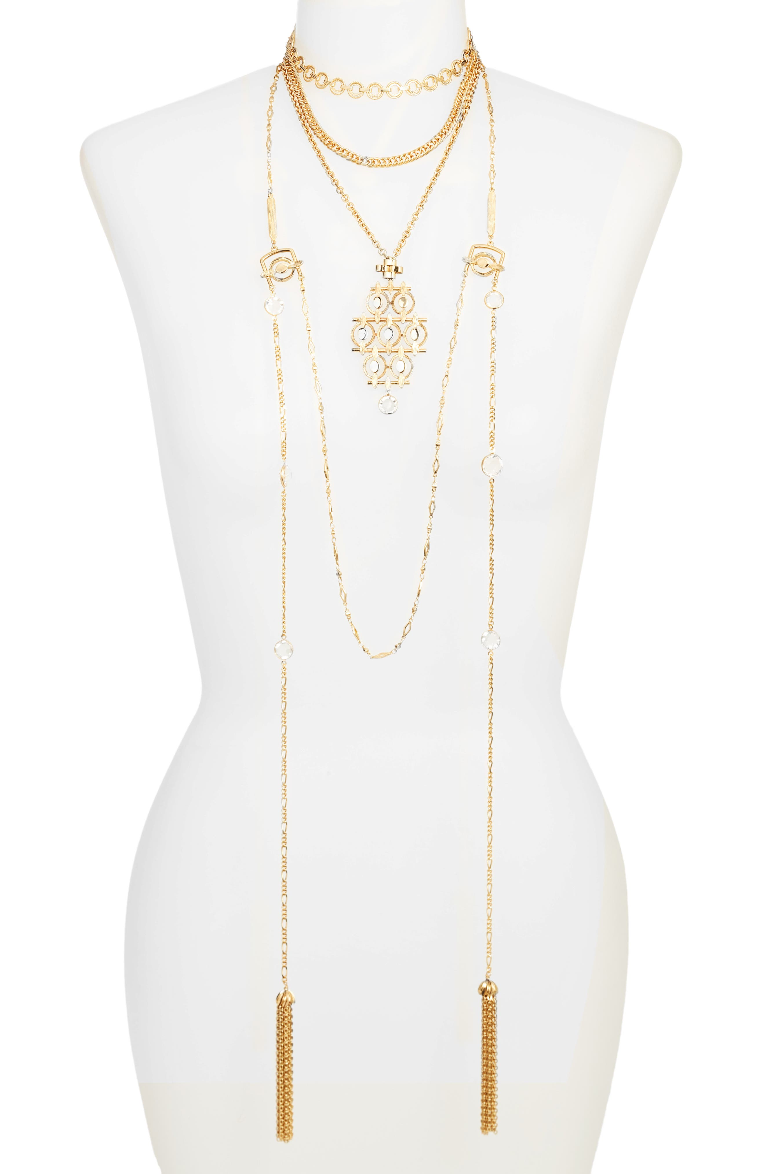 Layered Tassel Necklace,                         Main,                         color,