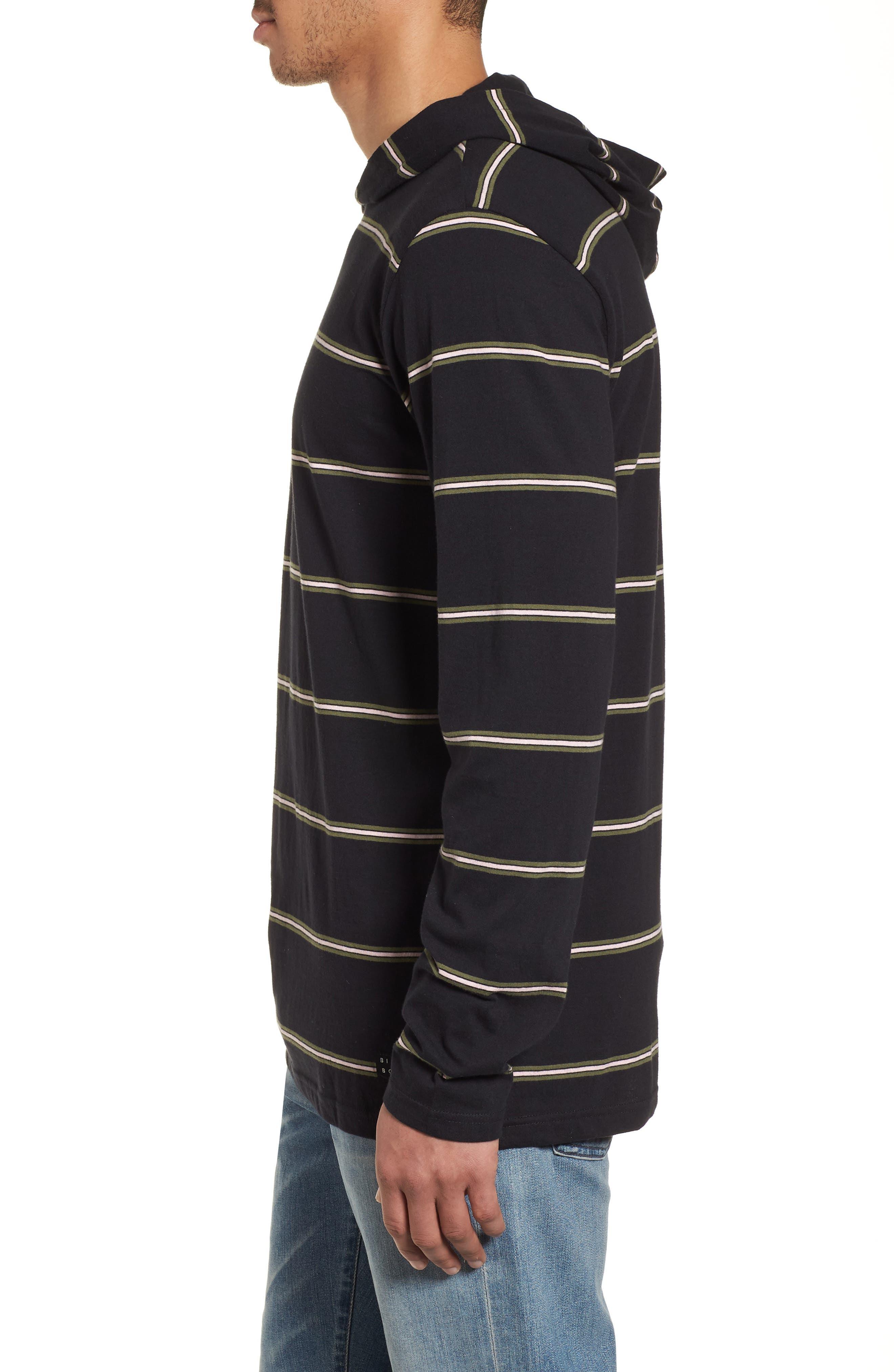 Die Cut Hooded Long Sleeve T-Shirt,                             Alternate thumbnail 3, color,                             001