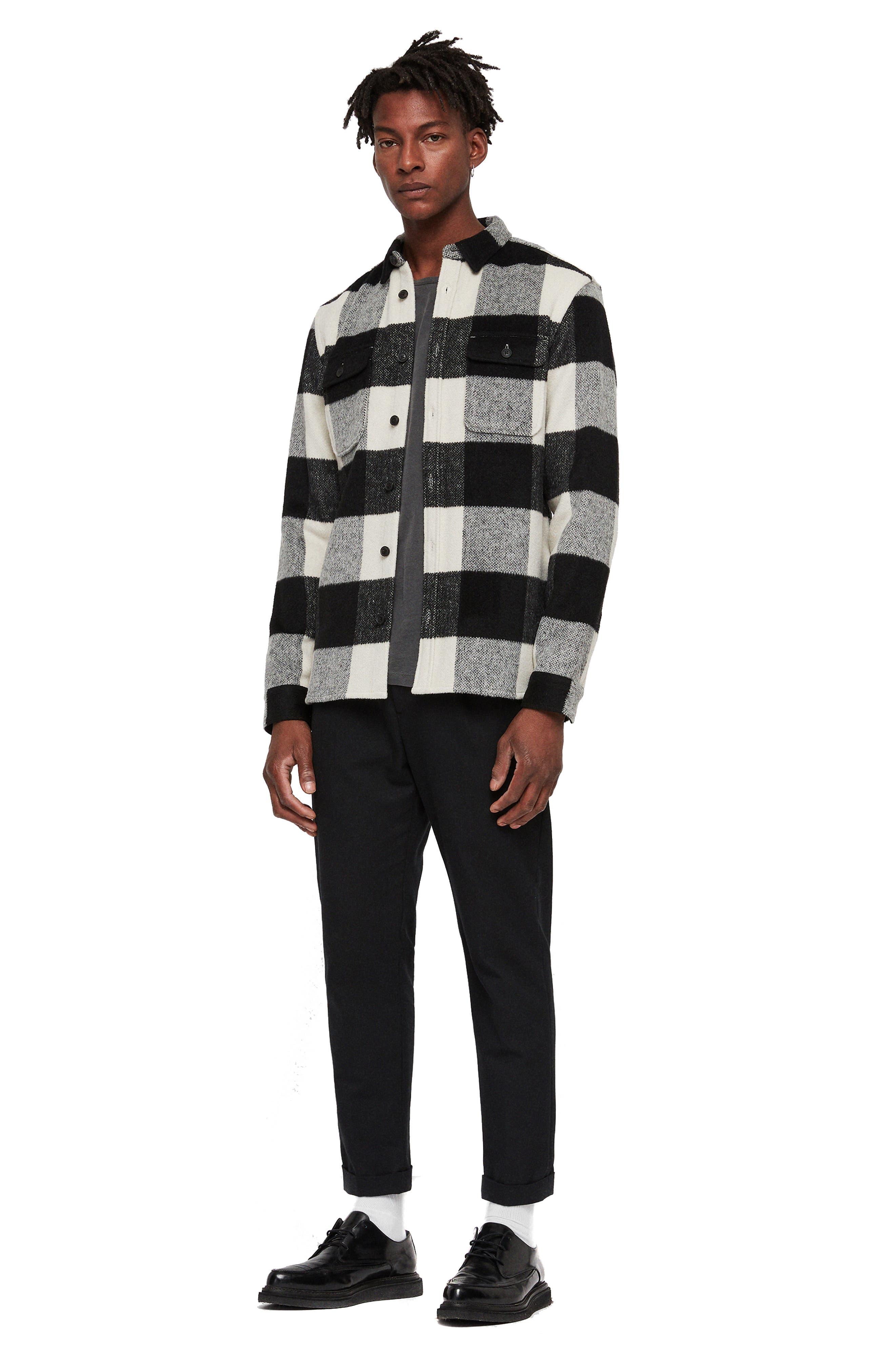 Laona Regular Fit Check Flannel Sport Shirt,                             Alternate thumbnail 4, color,                             ECRU/ BLACK