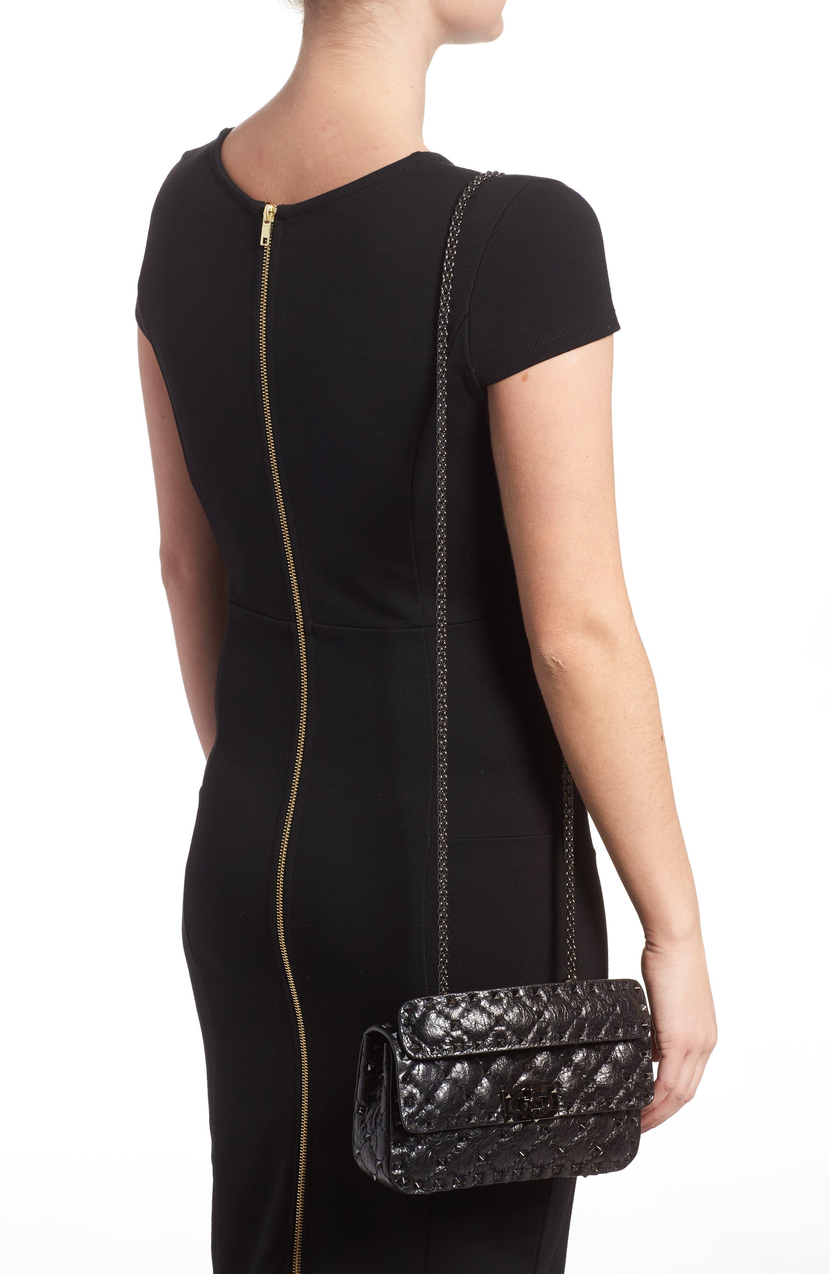 Vitello Rockstud Leather Shoulder Bag,                             Alternate thumbnail 2, color,                             001