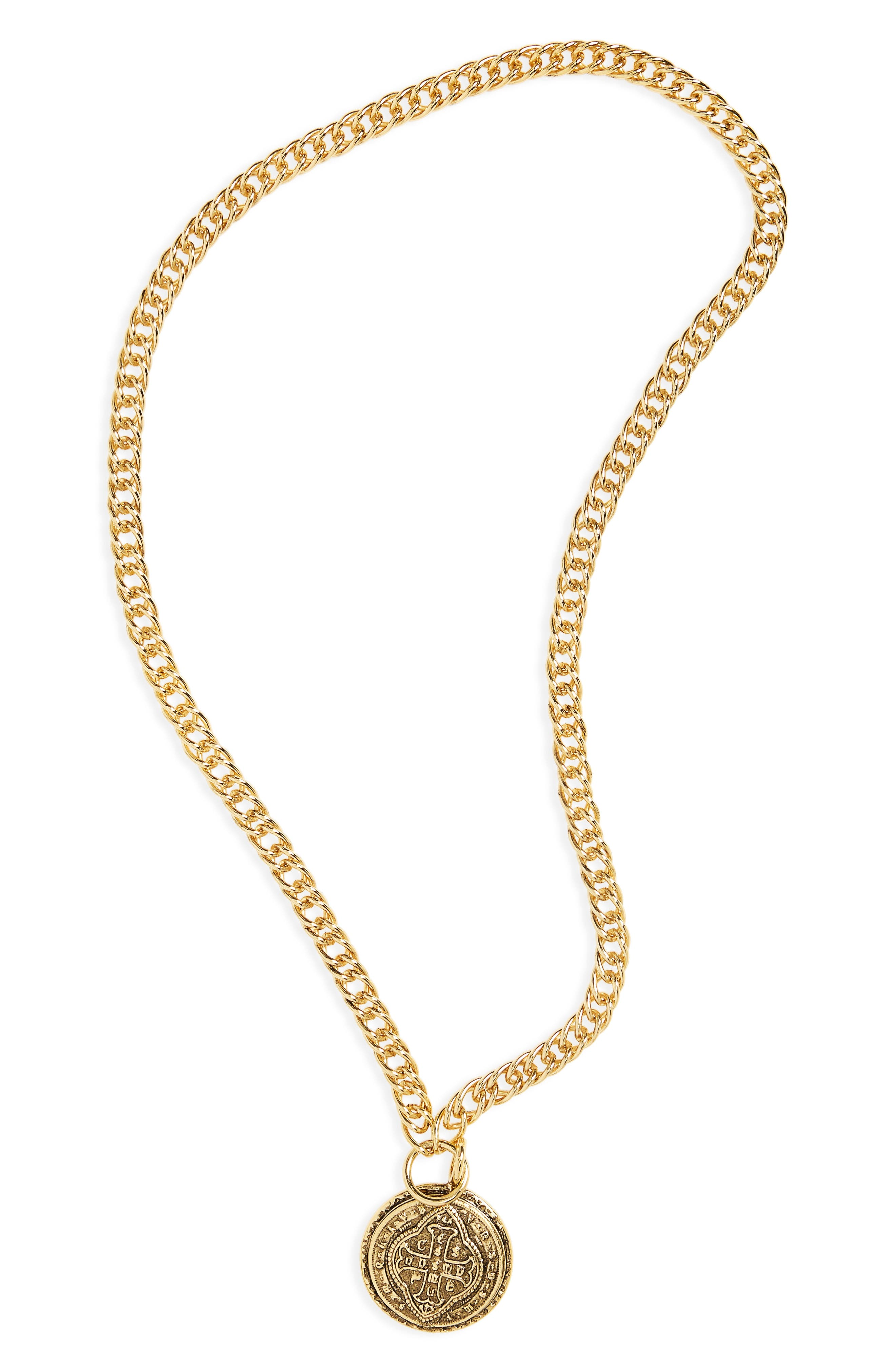 Cathedral Coin Necklace,                         Main,                         color, 710