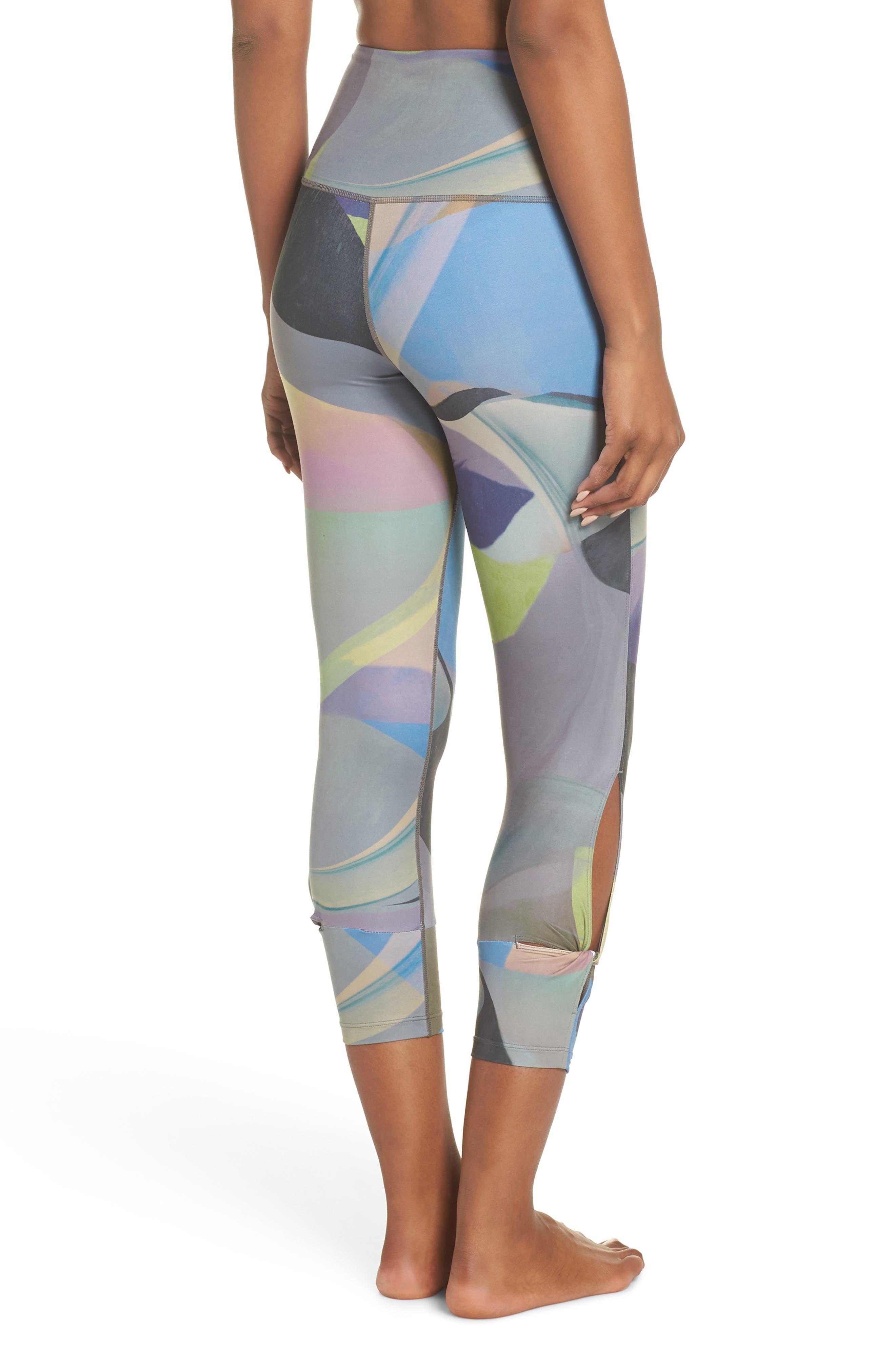 Katya High Waist Abstract Print Recycled Crop Leggings,                             Alternate thumbnail 2, color,                             GREY URBAN ABSTRACT BOTANICAL