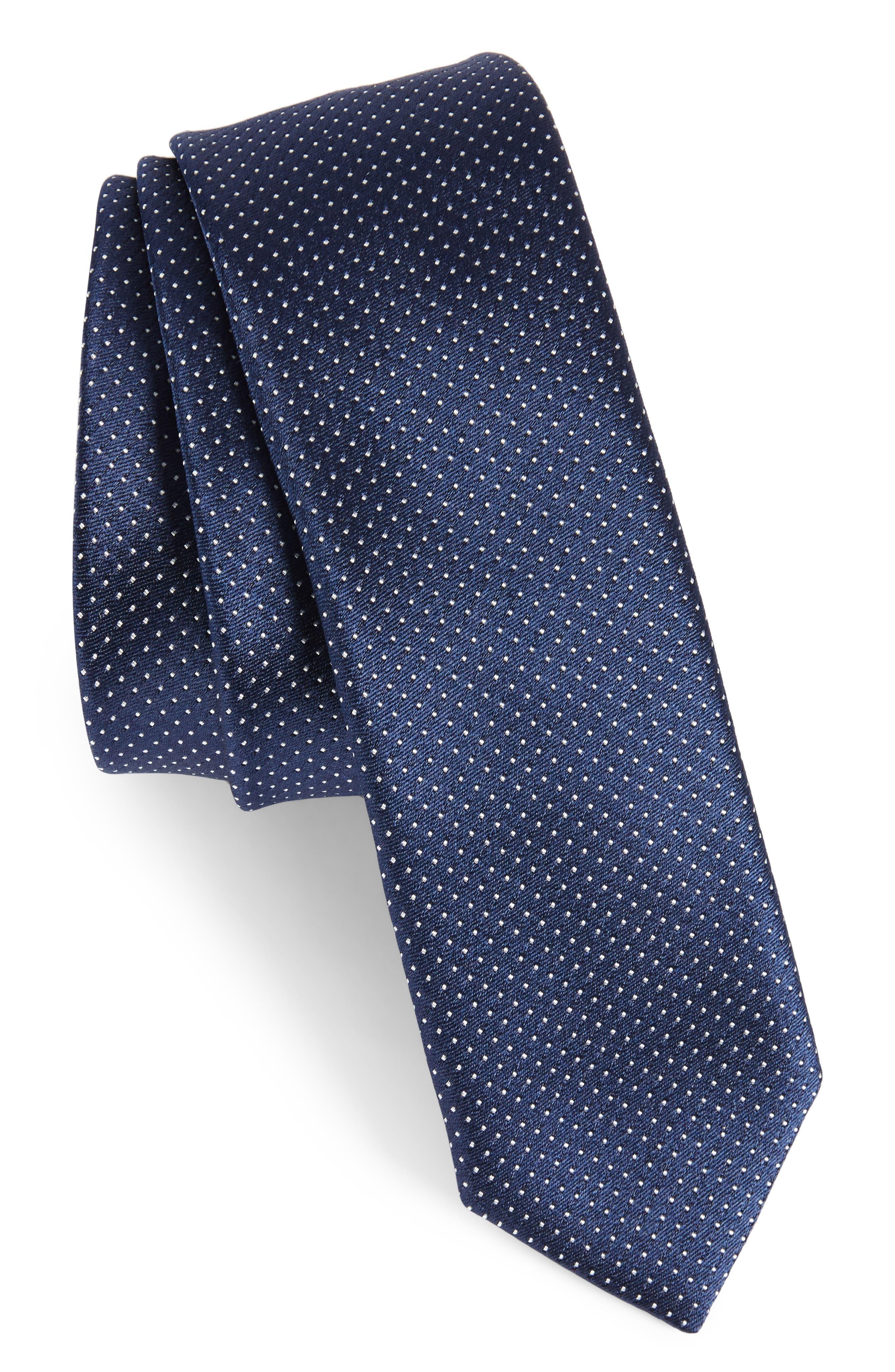 Dot Silk Skinny Tie,                             Main thumbnail 1, color,                             410