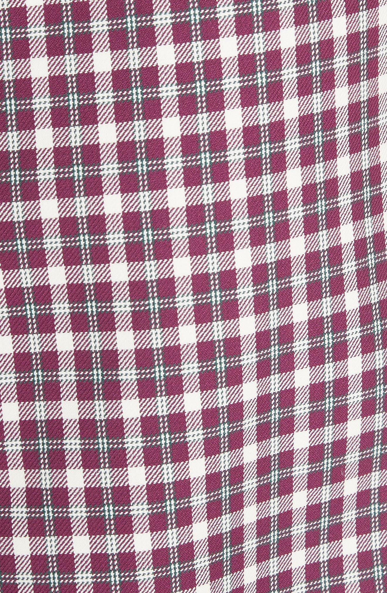 Stanforth Plaid A-Line Skirt,                             Alternate thumbnail 5, color,                             BURGUNDY