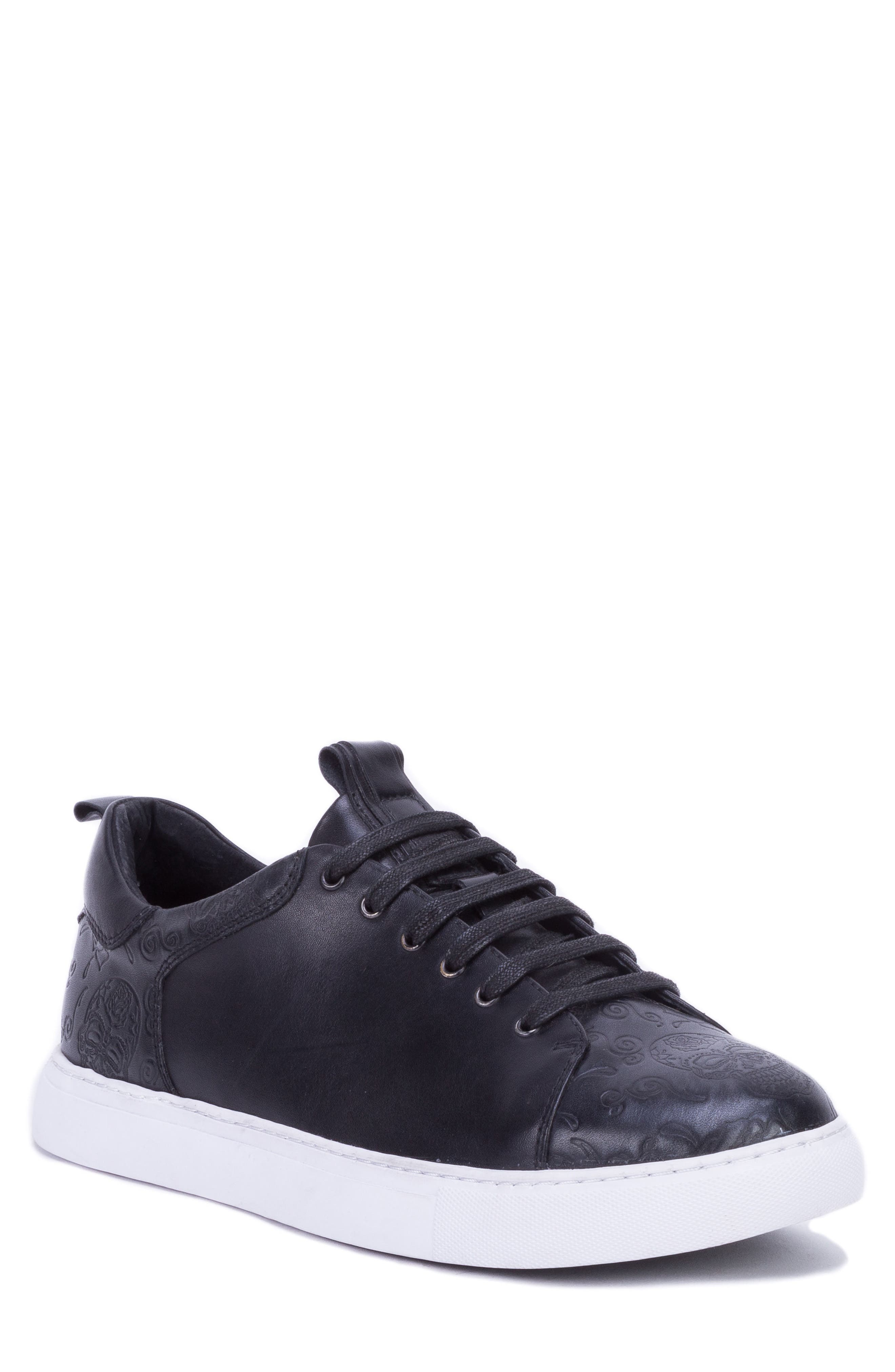 Sanderson Embossed Sneaker,                             Main thumbnail 1, color,                             BLACK LEATHER