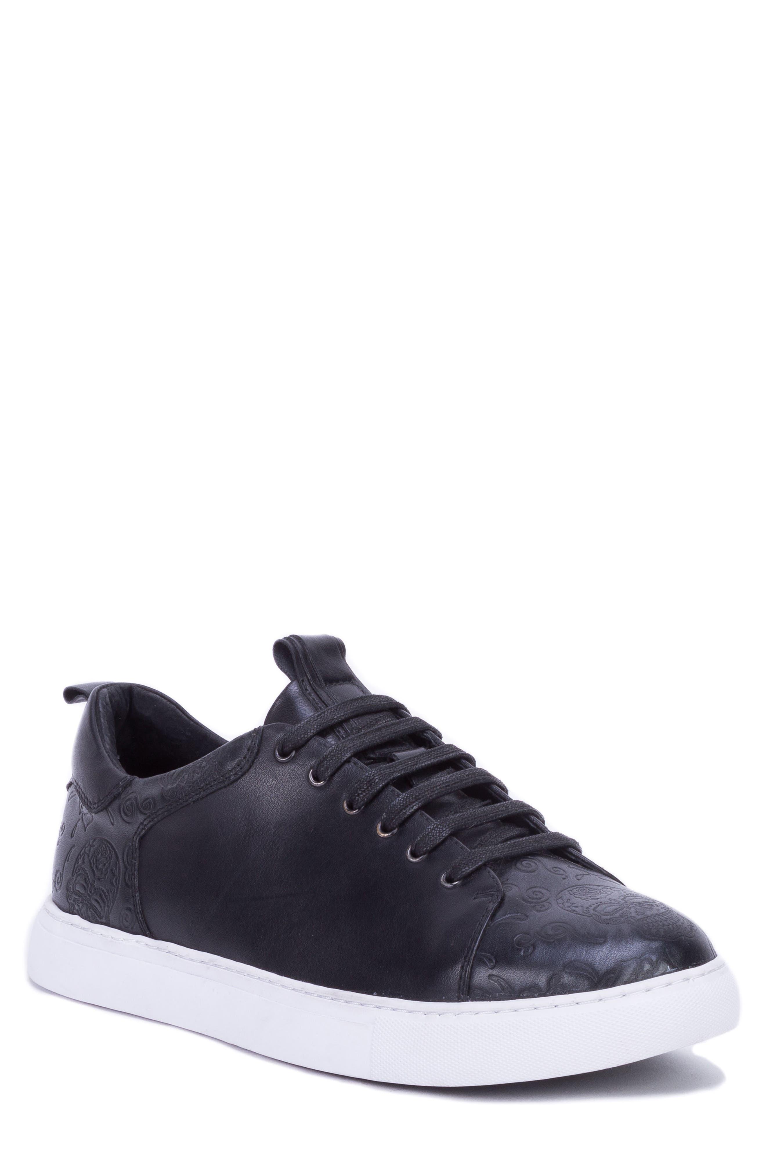 Sanderson Embossed Sneaker,                         Main,                         color, BLACK LEATHER