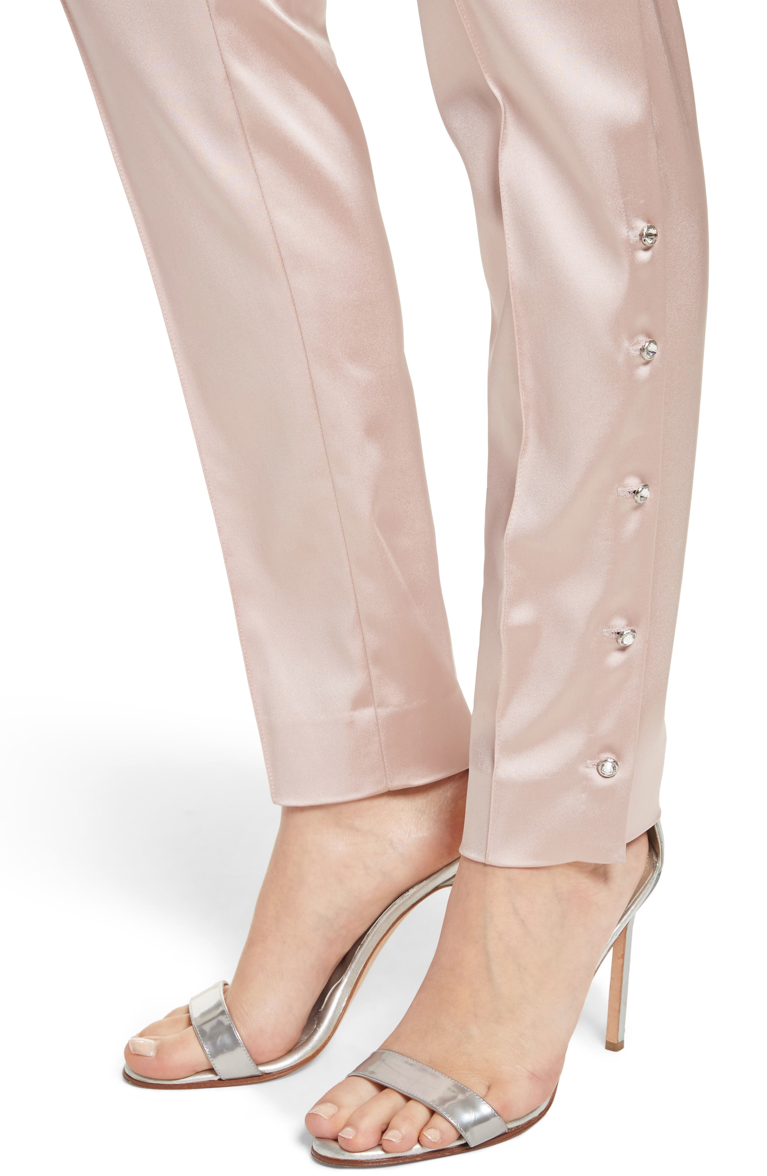 Stretch Satin Ankle Pants,                             Alternate thumbnail 4, color,                             680